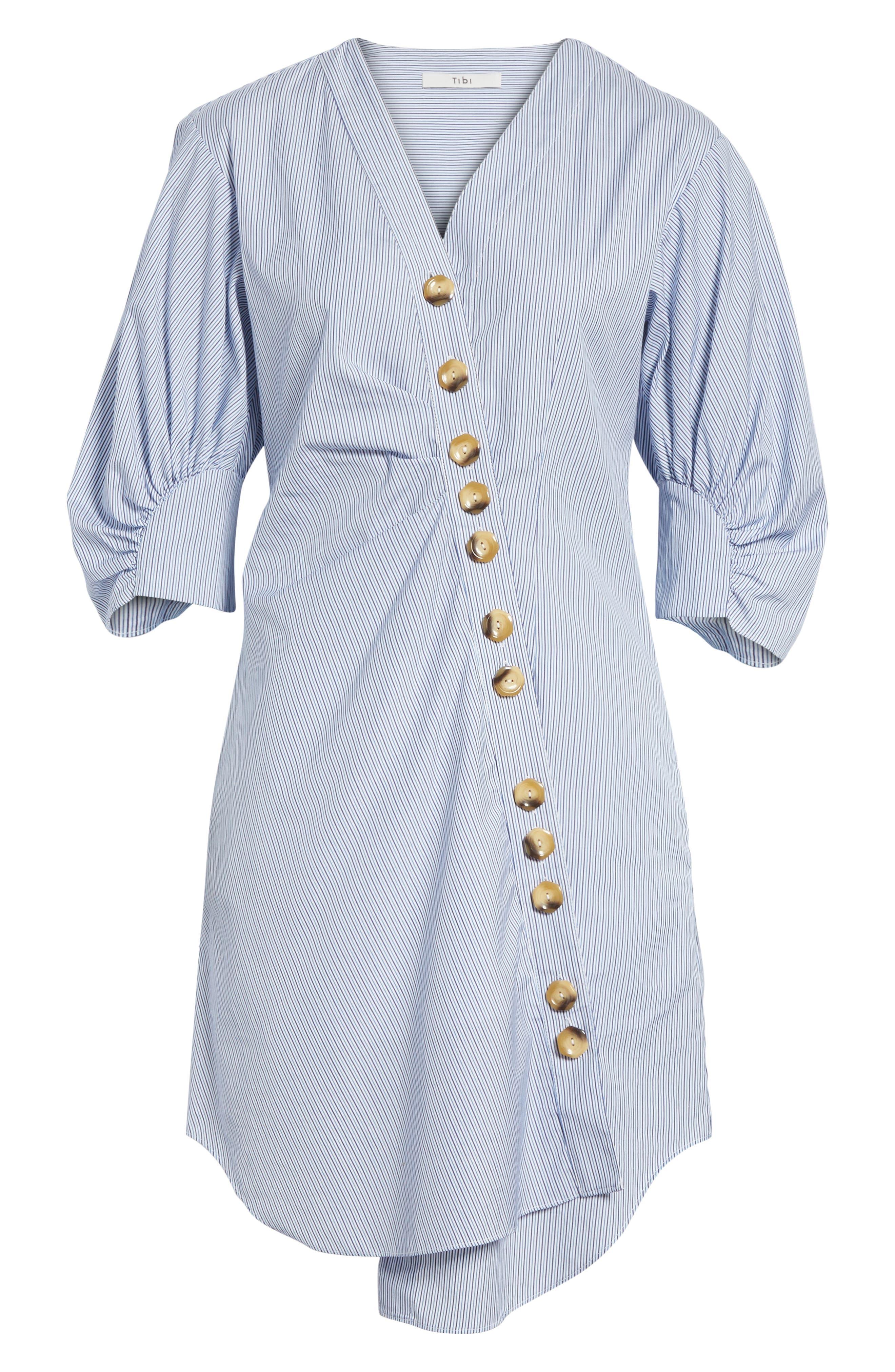Asymmetrical Cotton Shirtdress,                             Alternate thumbnail 5, color,                             Blue Multi