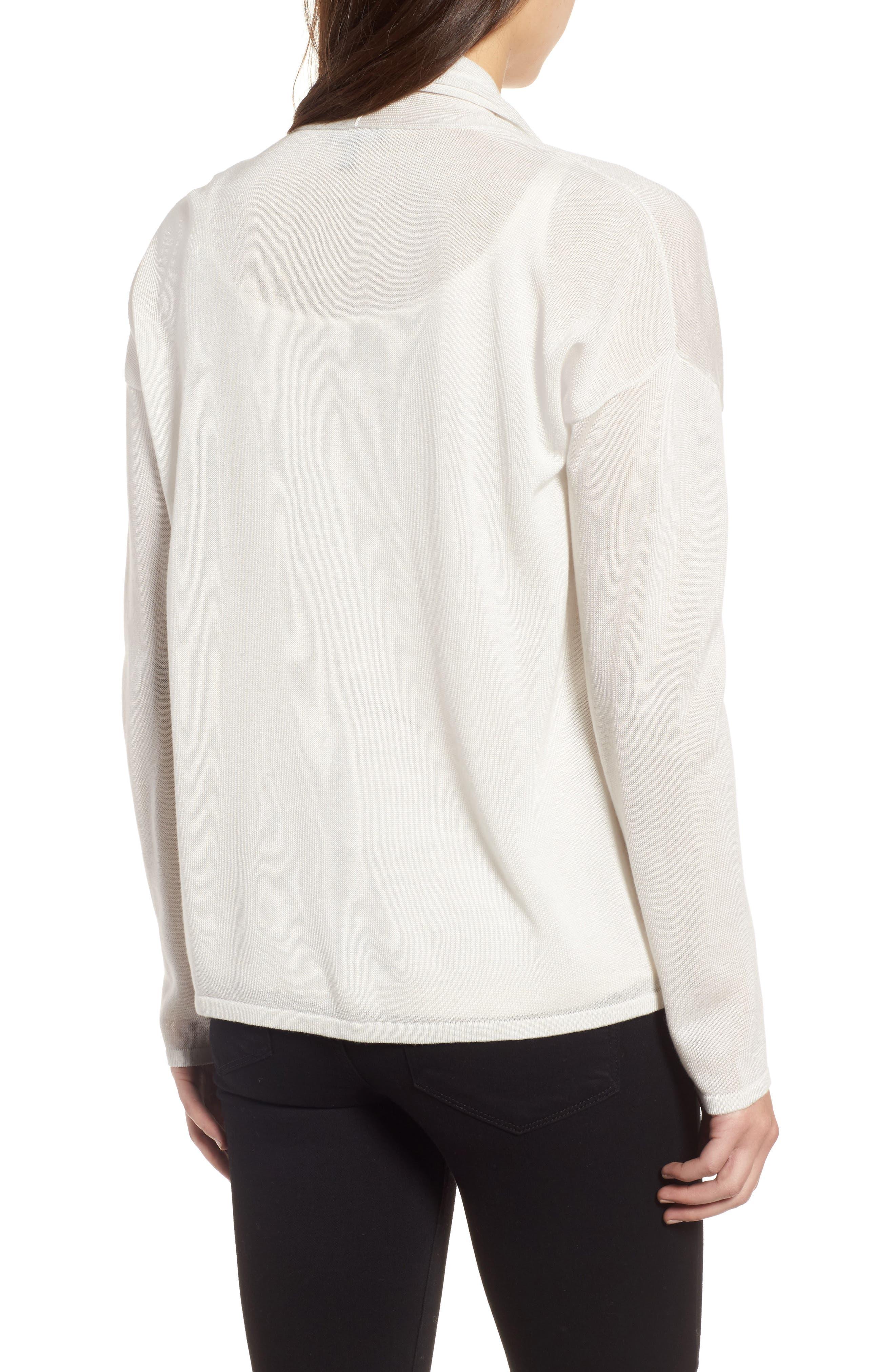 Faux Wrap Tencel<sup>®</sup> Lyocell & Merino Wool Sweater,                             Alternate thumbnail 2, color,                             Bone