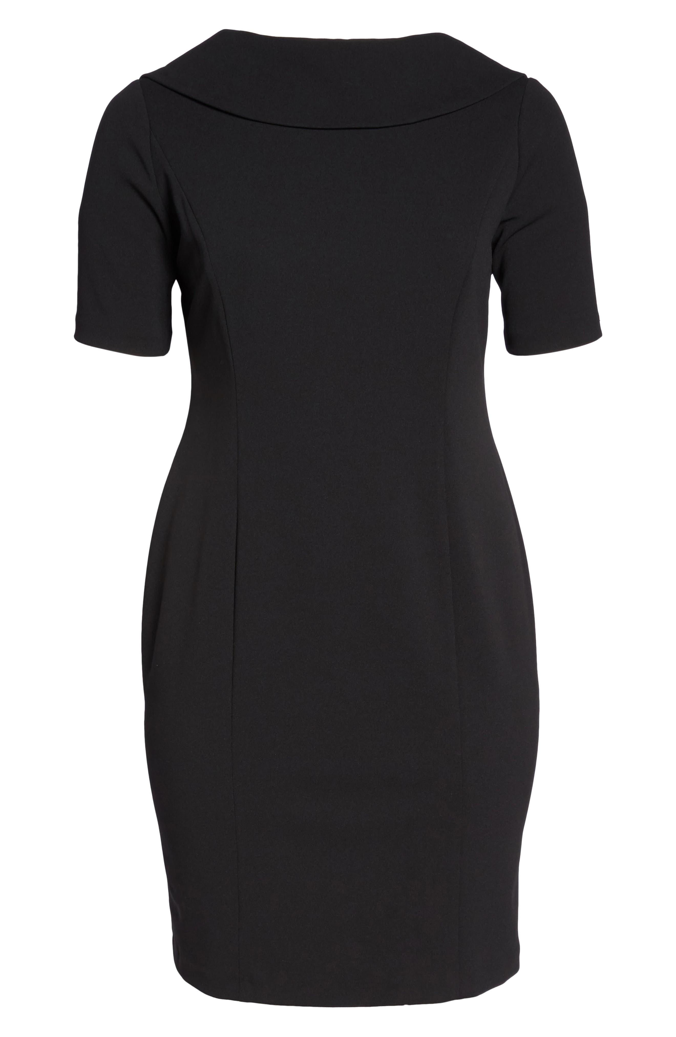 Wrap Dress,                             Alternate thumbnail 7, color,                             Black Crepe