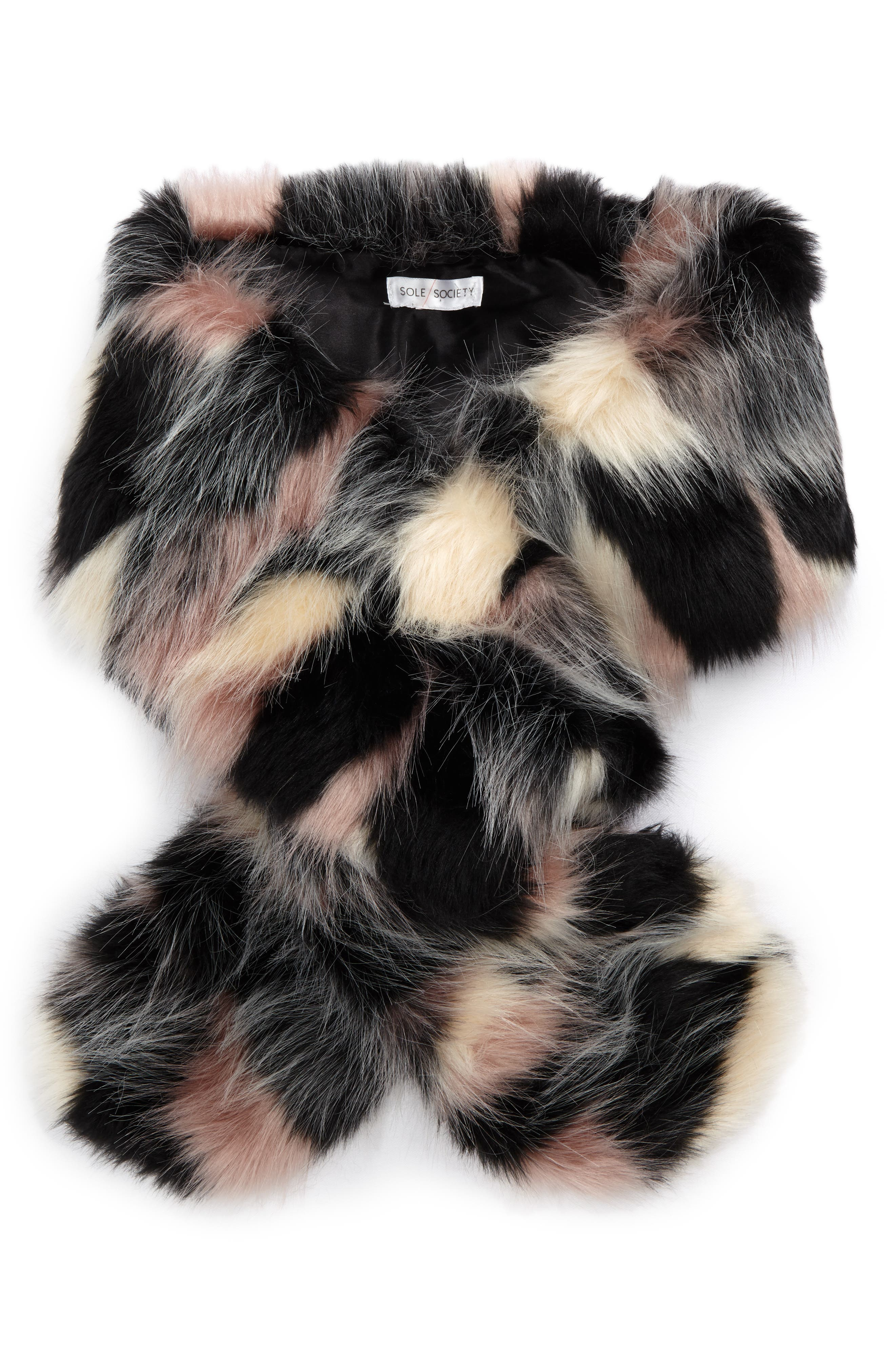 Oversized Faux Fur Wrap,                         Main,                         color, Blush Multi
