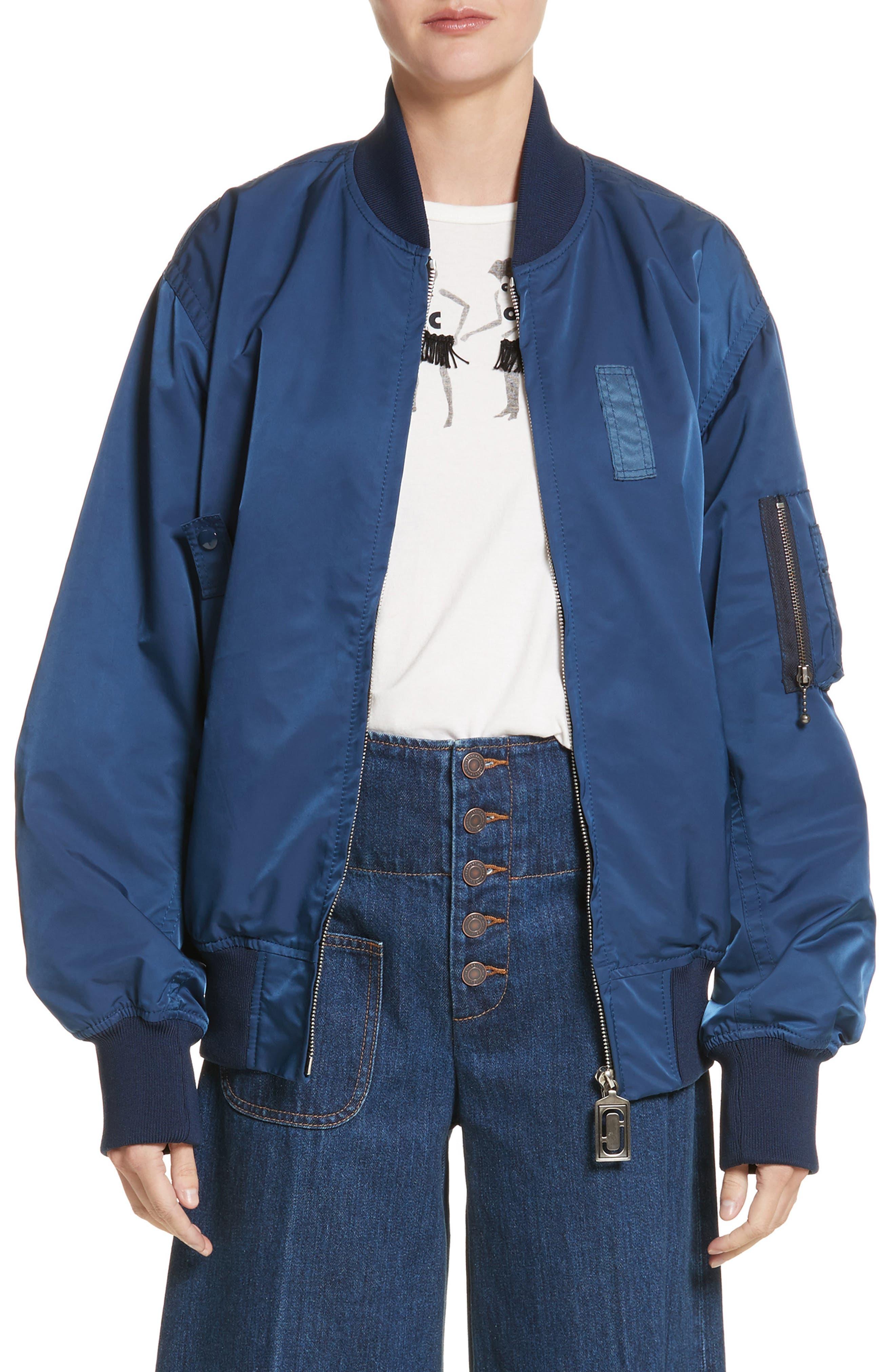Oversize Bomber,                         Main,                         color, Blue