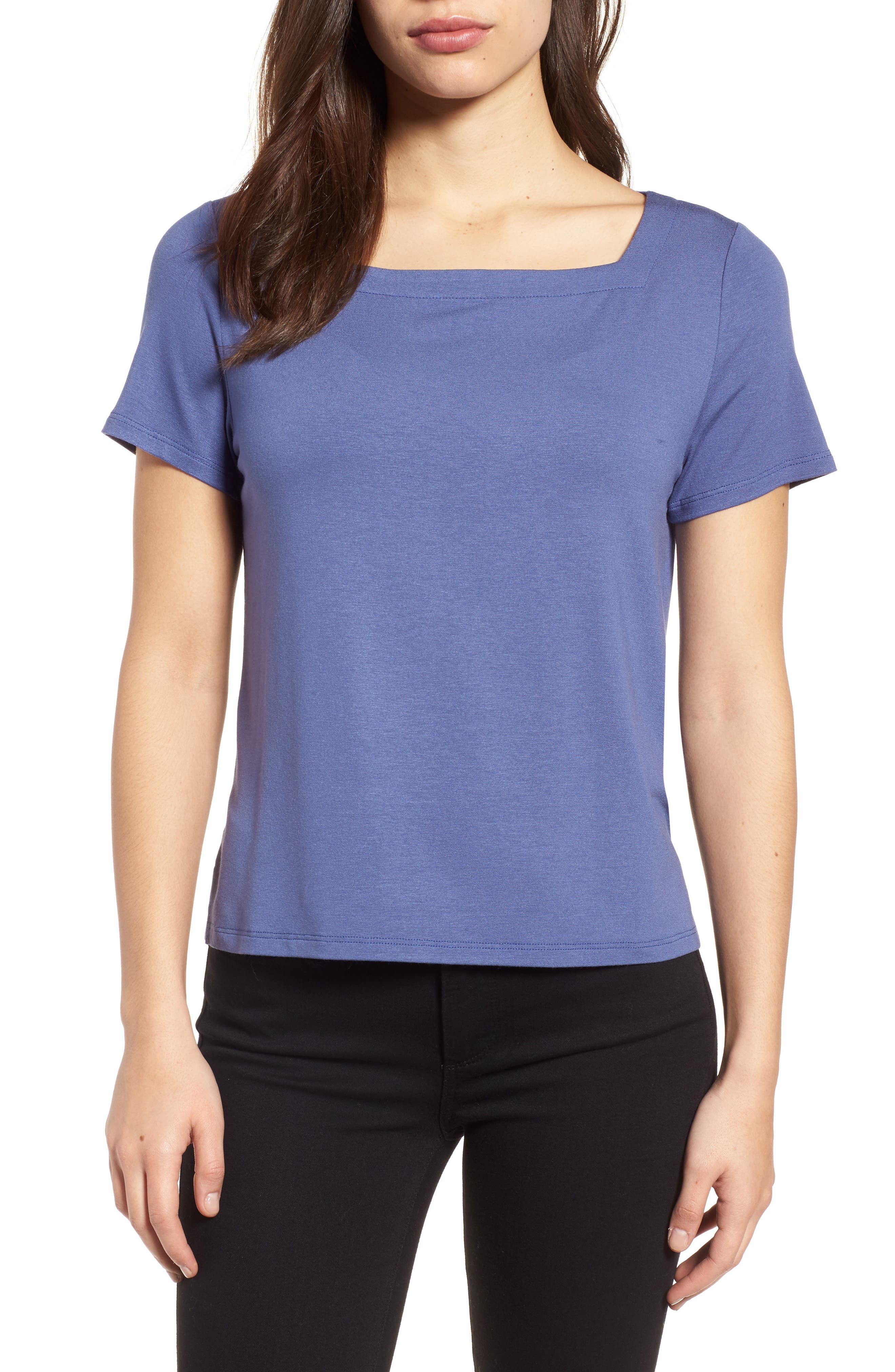 Square Neck Jersey Top,                         Main,                         color, Blue Angel