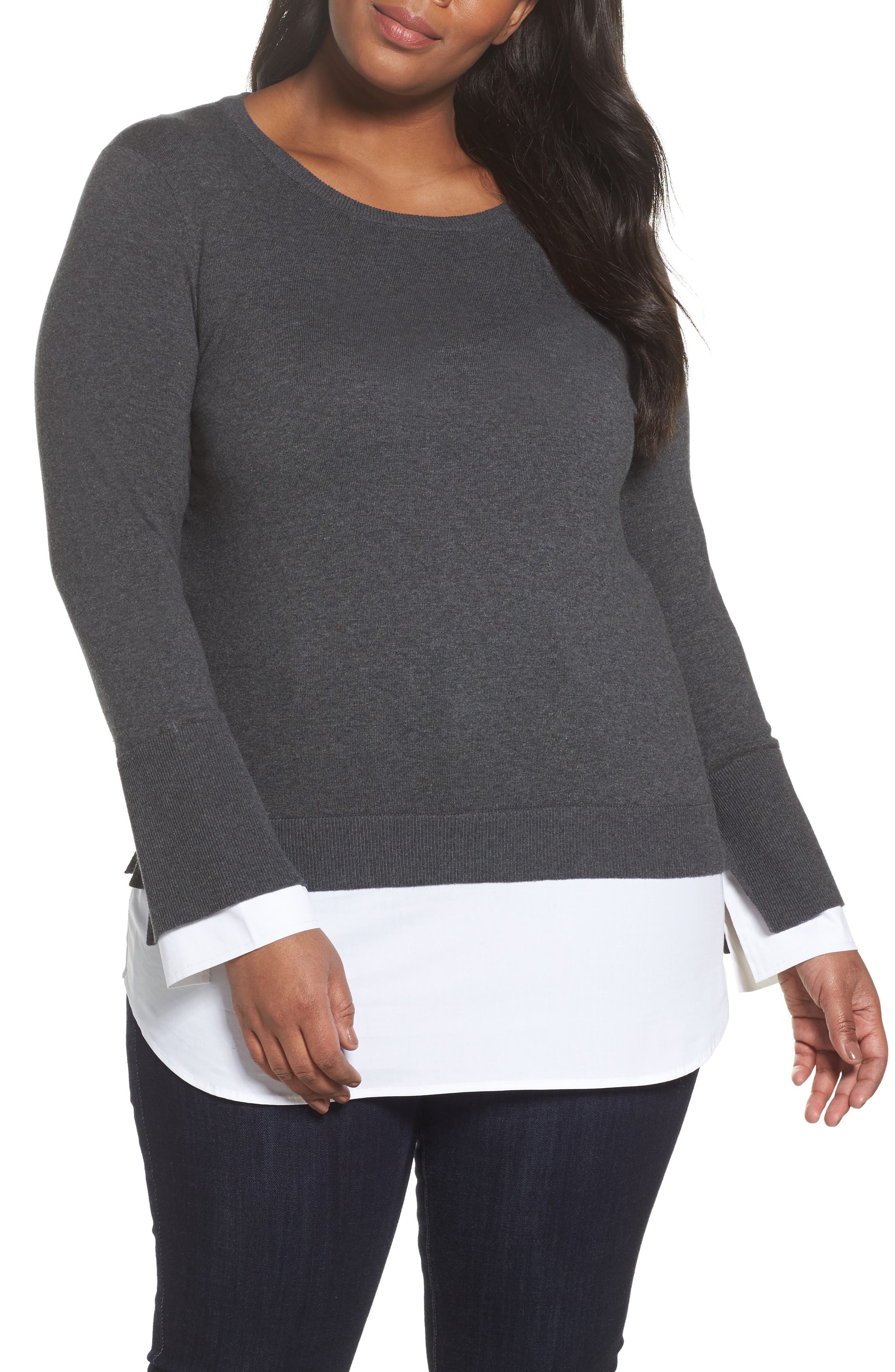 Layered Look Sweater,                             Main thumbnail 1, color,                             Medium Heather Grey