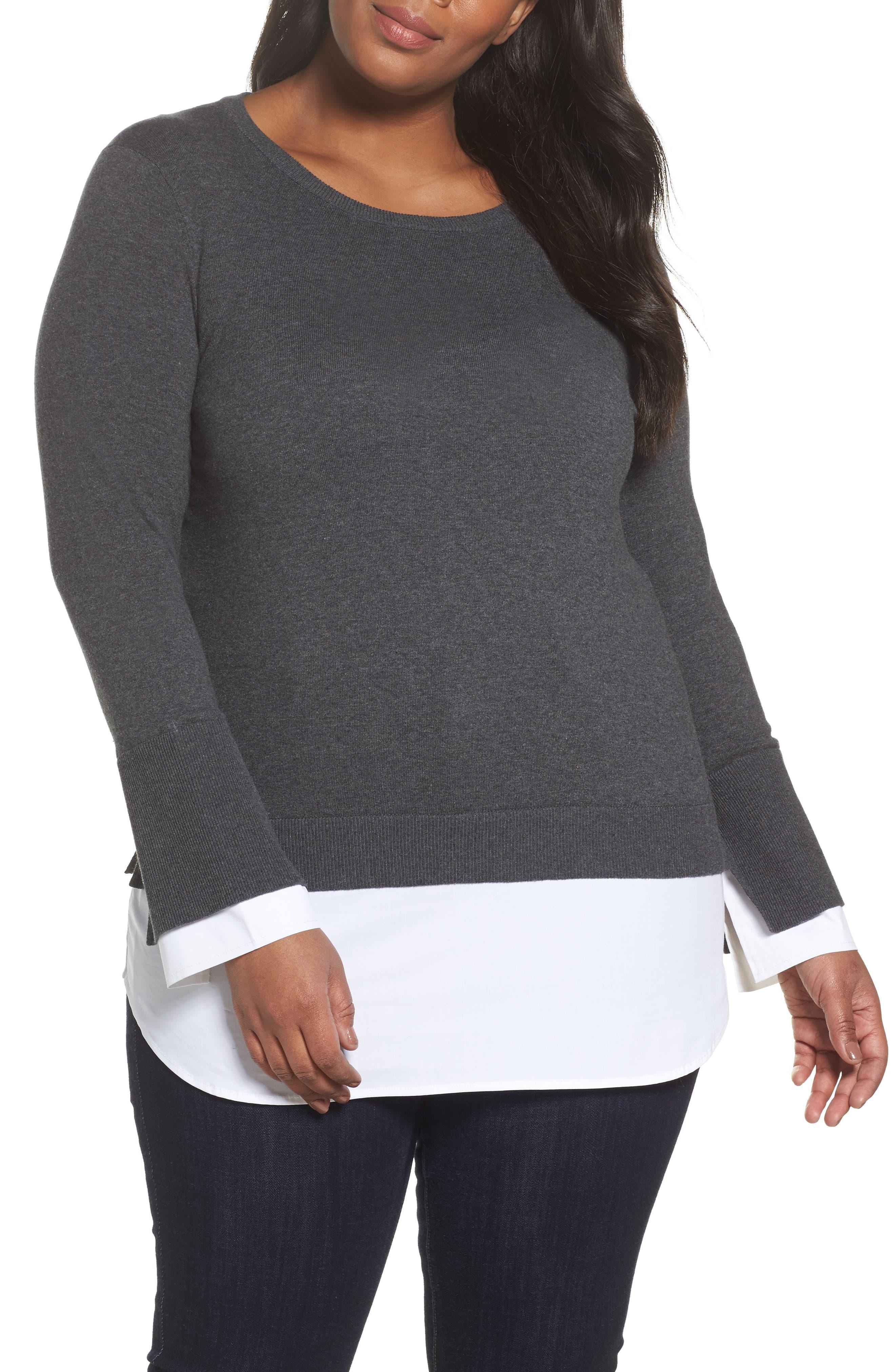 Layered Look Sweater,                         Main,                         color, Medium Heather Grey