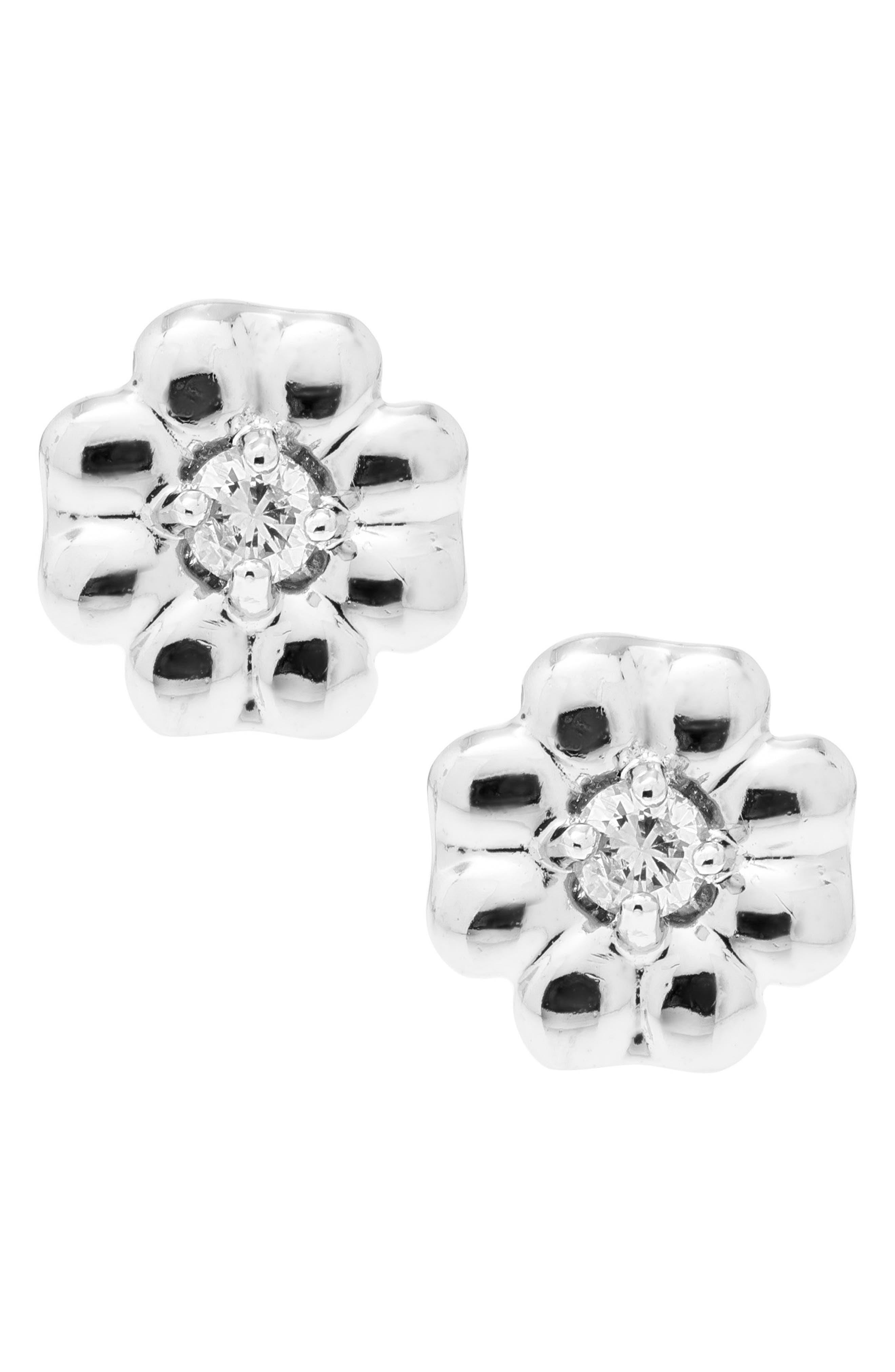 Sterling Silver & Diamond Stud Earrings,                             Alternate thumbnail 3, color,                             Silver