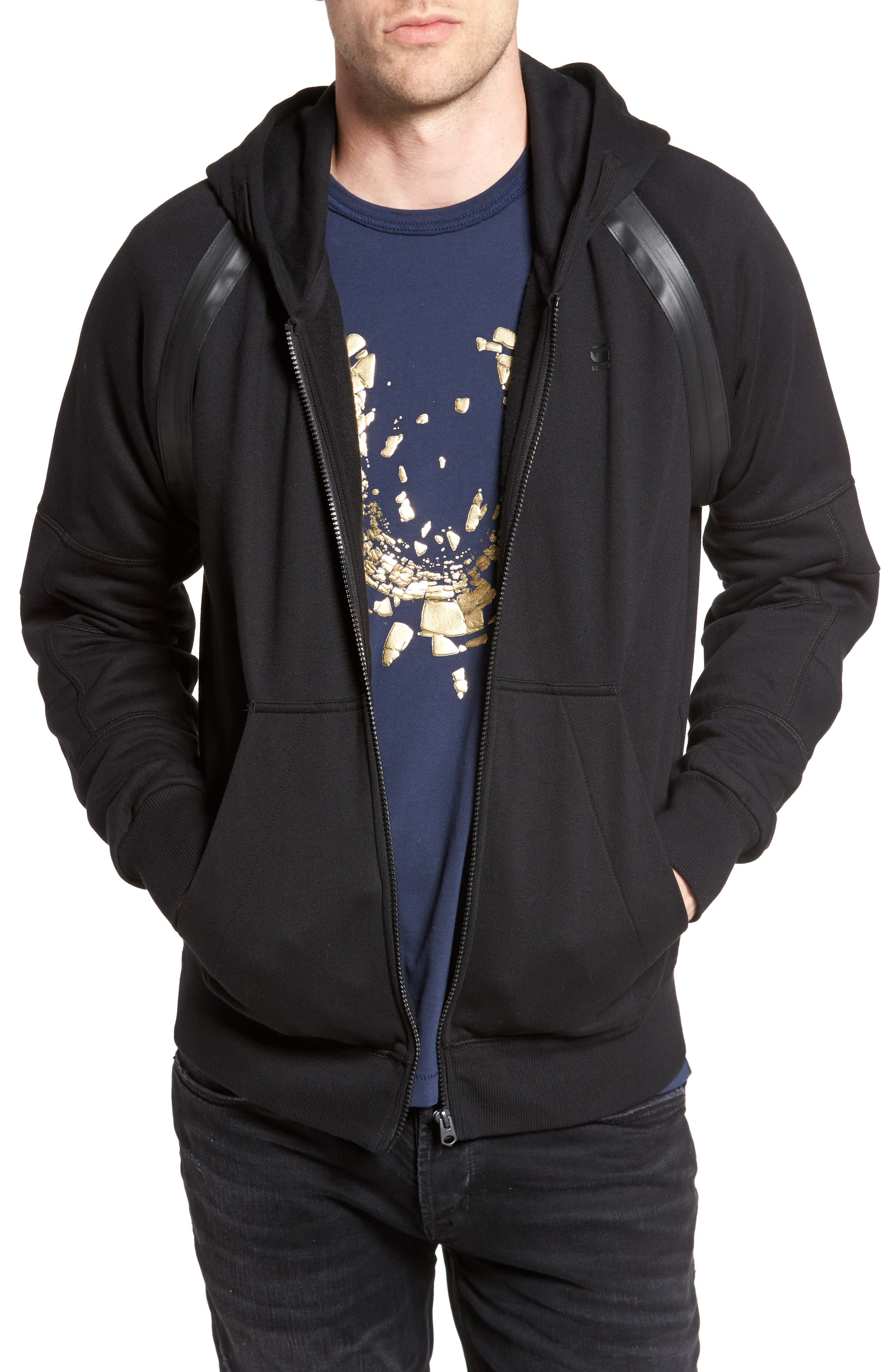 Main Image - G-Star Raw Rackam Zip Hoodie with Faux Leather Trim