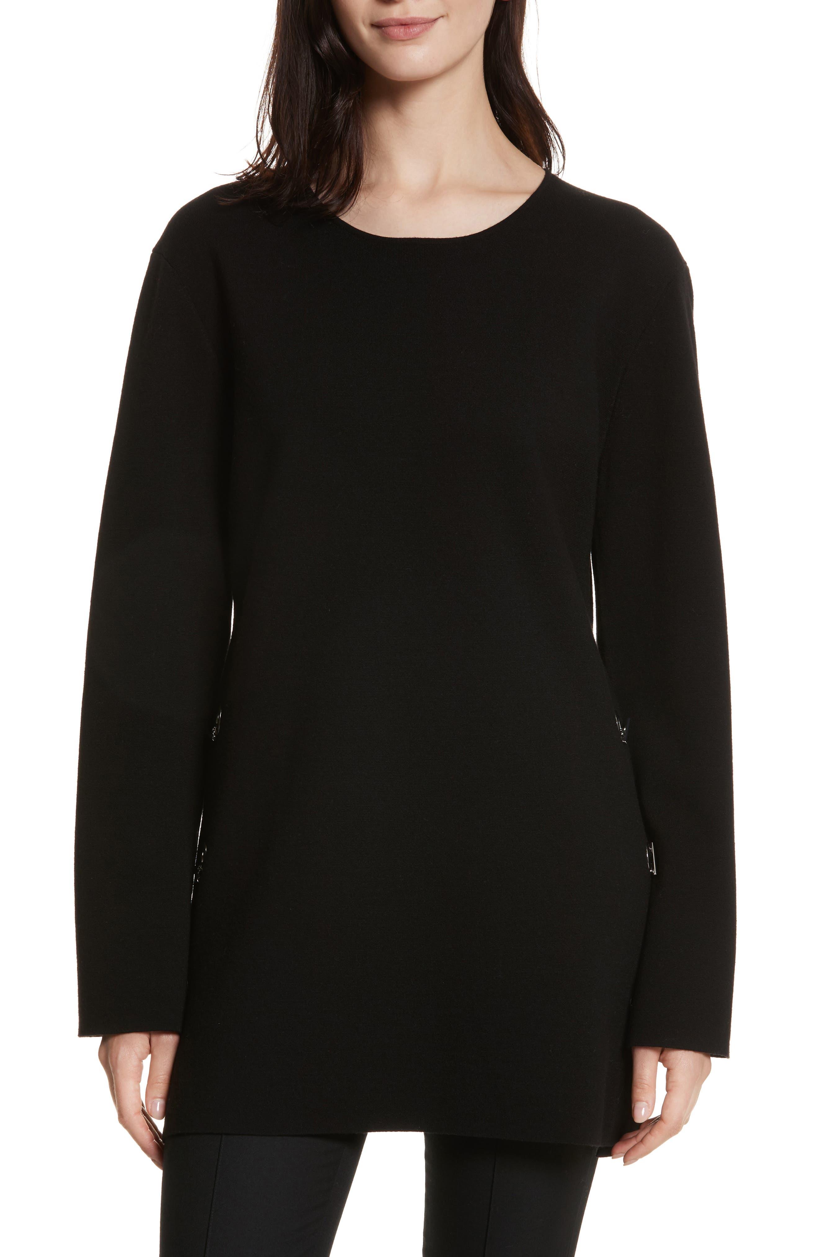 Nola Grommet Tunic Sweater,                             Main thumbnail 1, color,                             Black