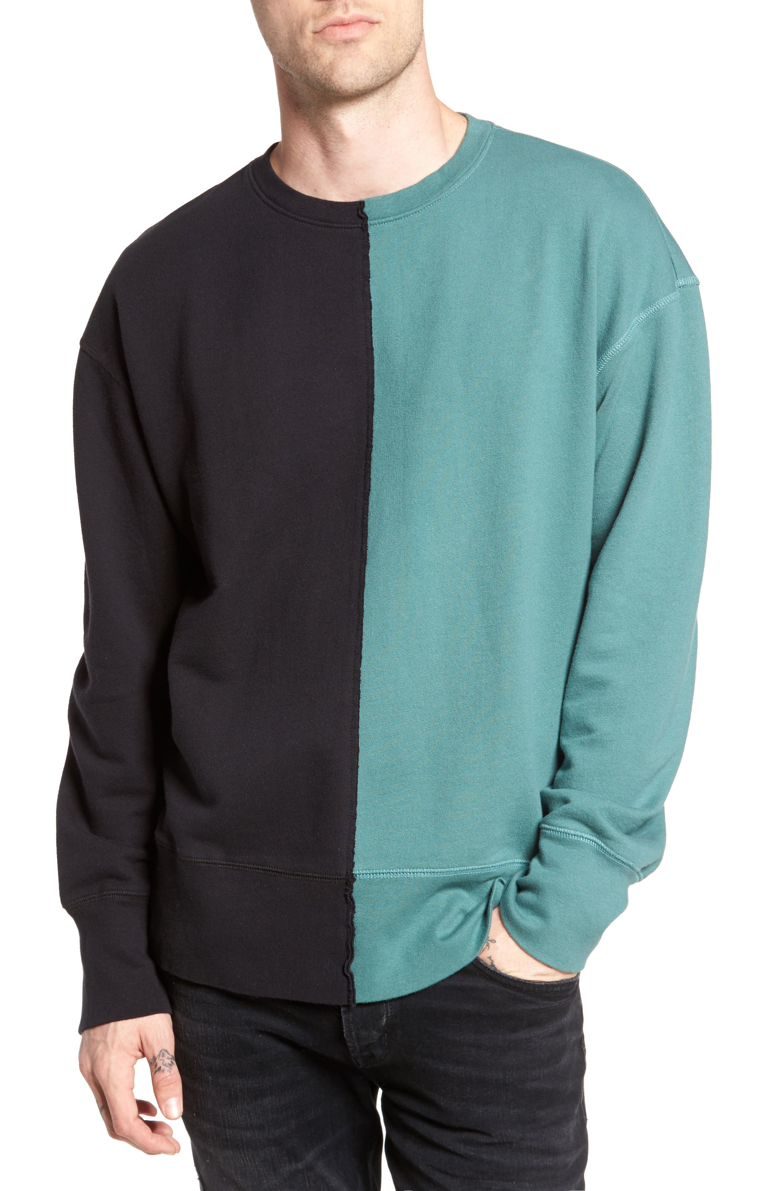 Colorblock T-Shirt,                             Main thumbnail 1, color,                             Black Rock / Green Pine