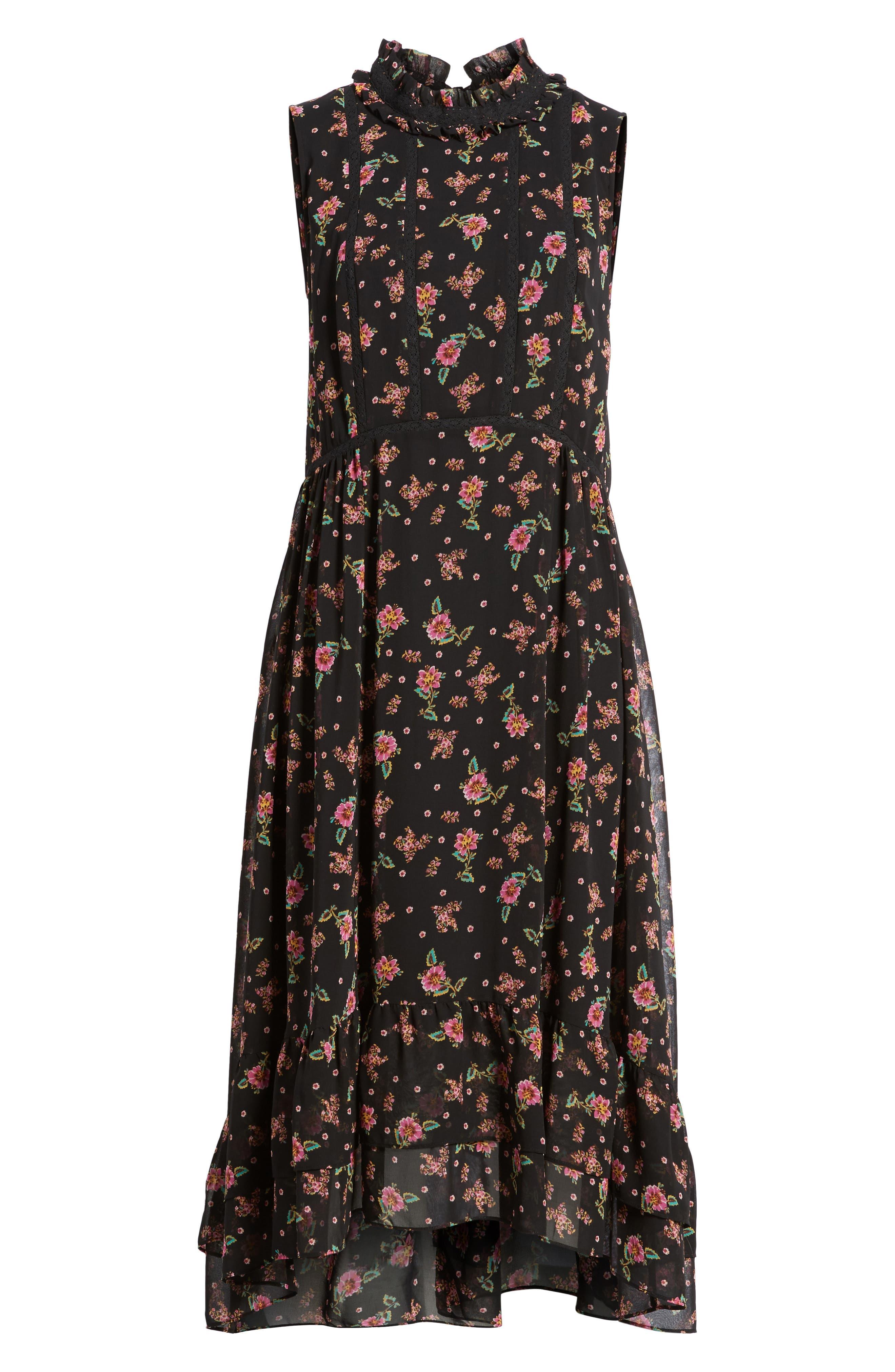 Harvey Midi Dress,                             Alternate thumbnail 6, color,                             Black Multi