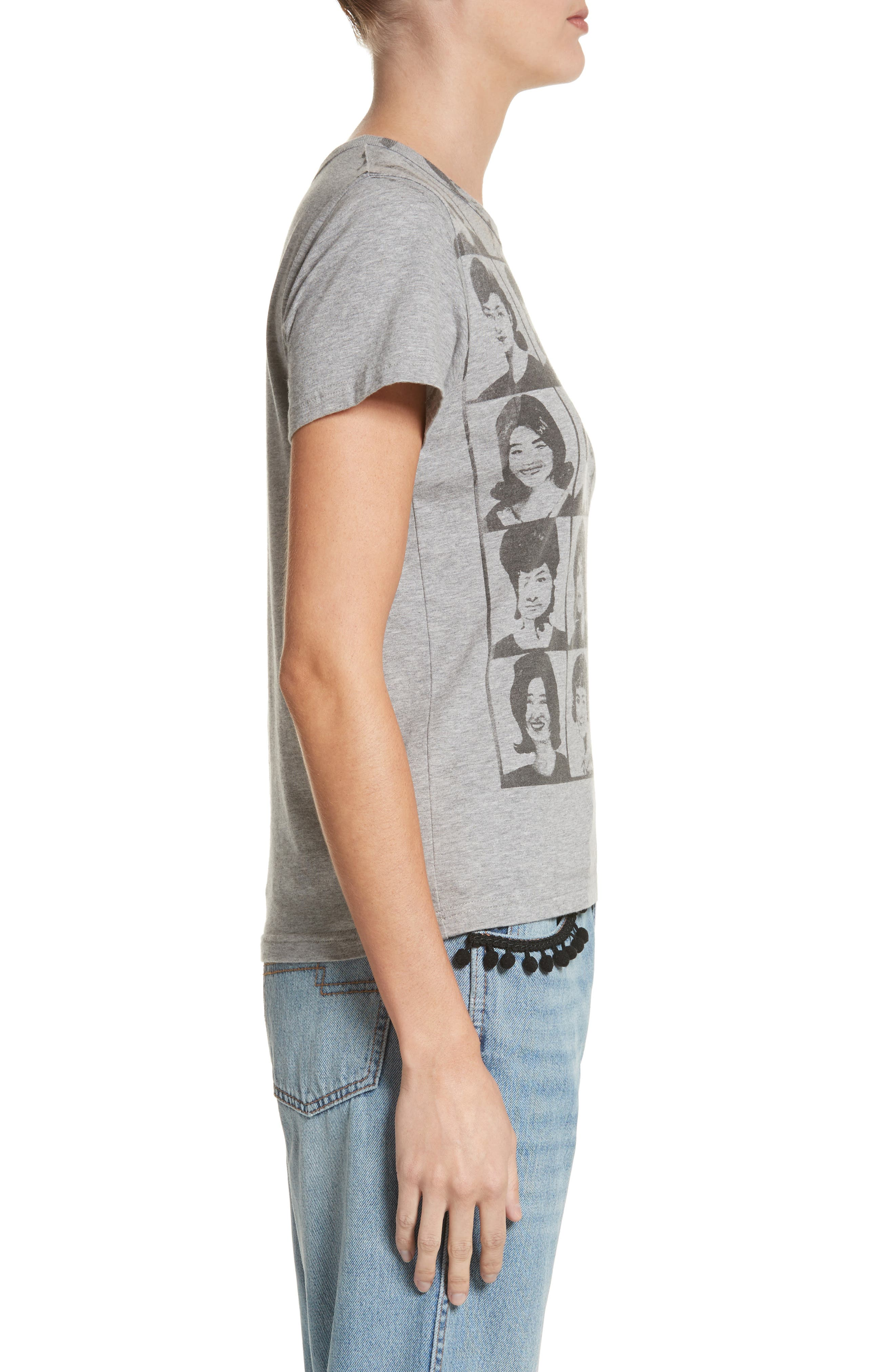 Yearbook Print Embroidered Tee,                             Alternate thumbnail 3, color,                             Grey Melange