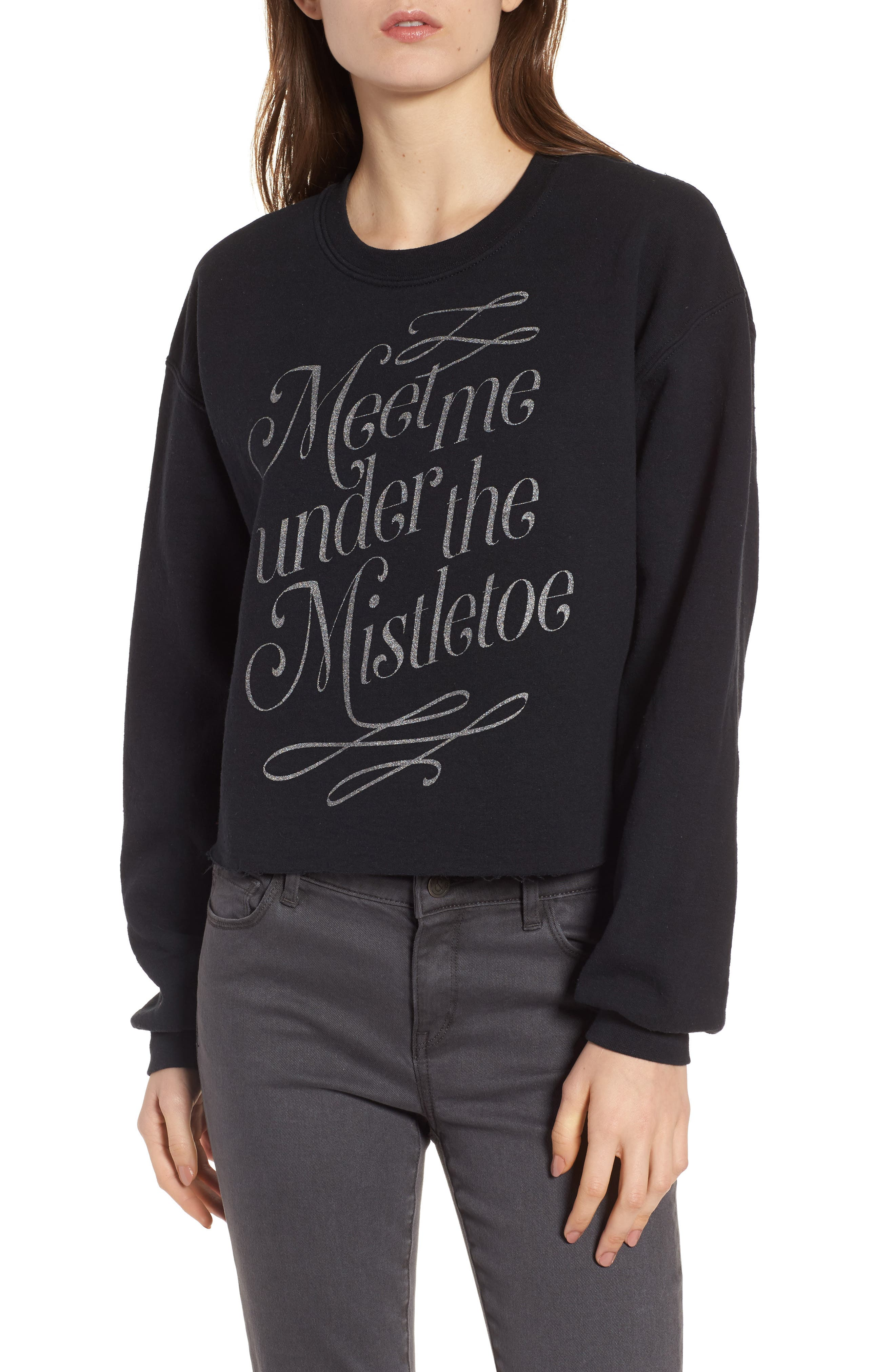 Mistletoe Sweatshirt,                         Main,                         color, Black