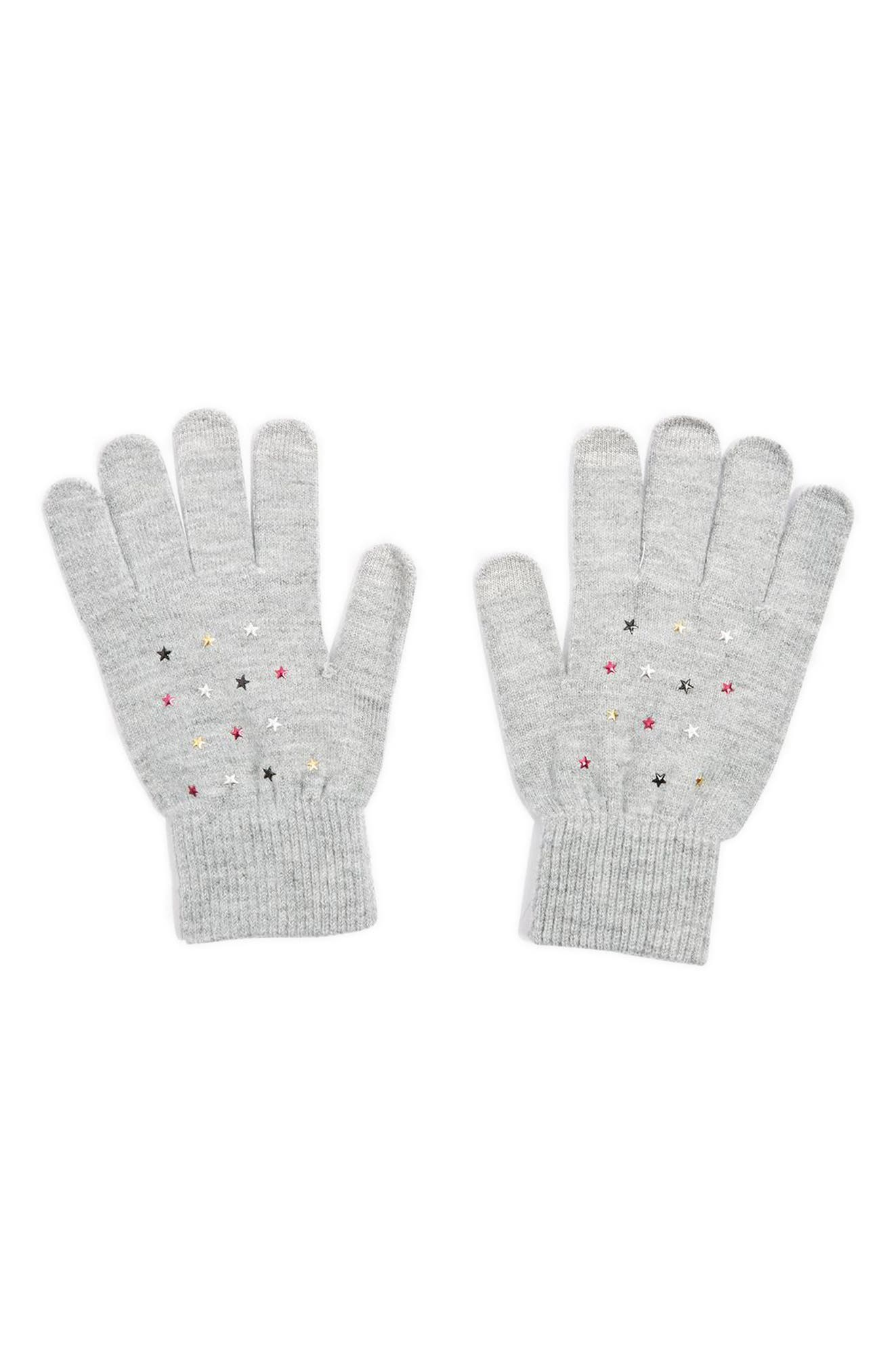 Knit Star Gloves,                         Main,                         color, Grey