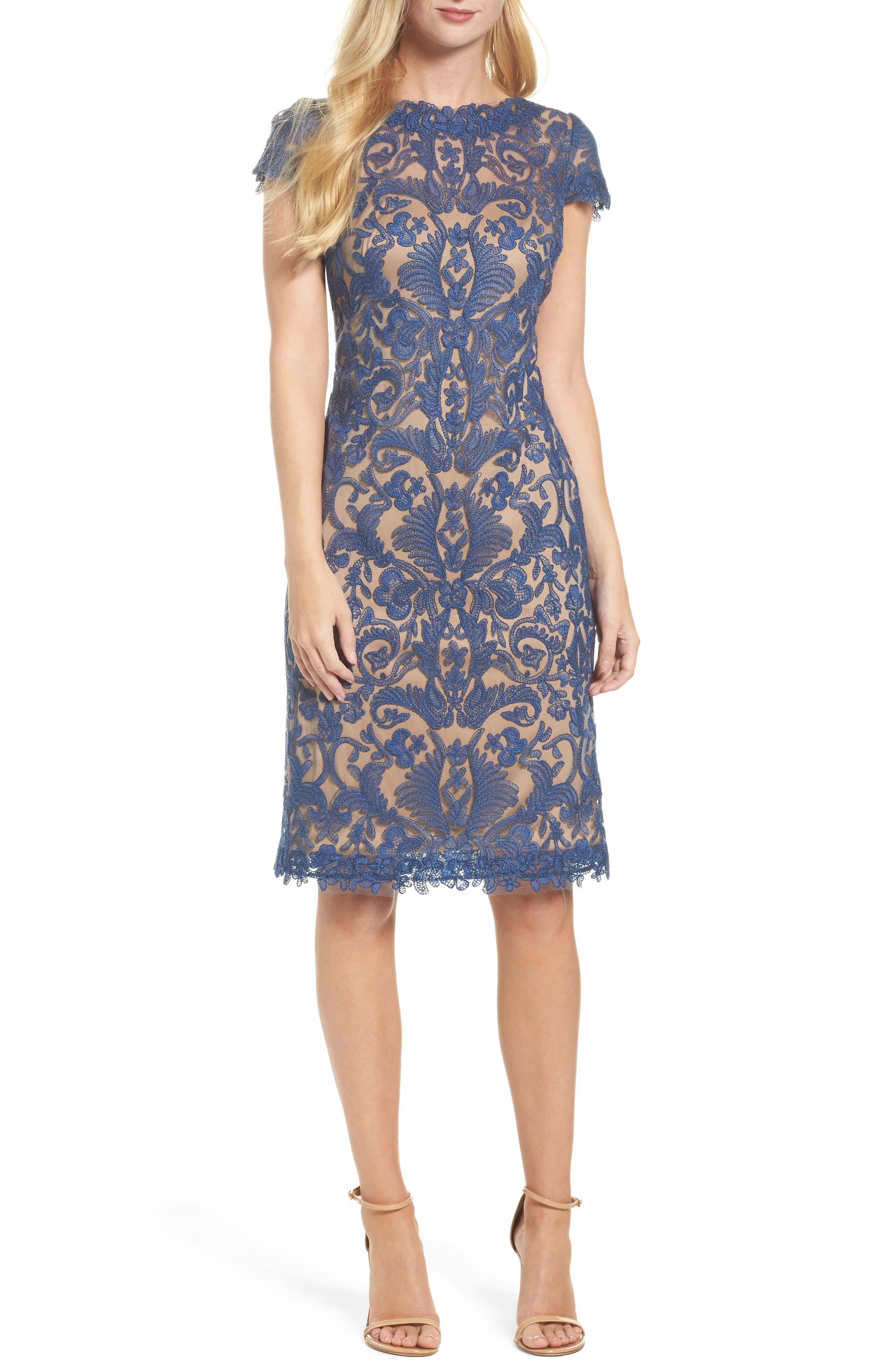 Illusion Yoke Lace Sheath Dress,                         Main,                         color, Wedgewood/ Nude