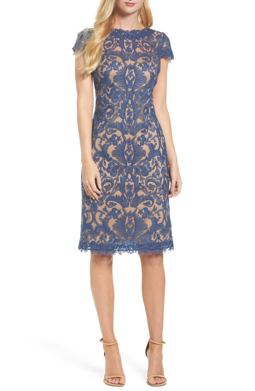 Tadashi Shoji Illusion Yoke Lace Sheath Dress Regular Pee