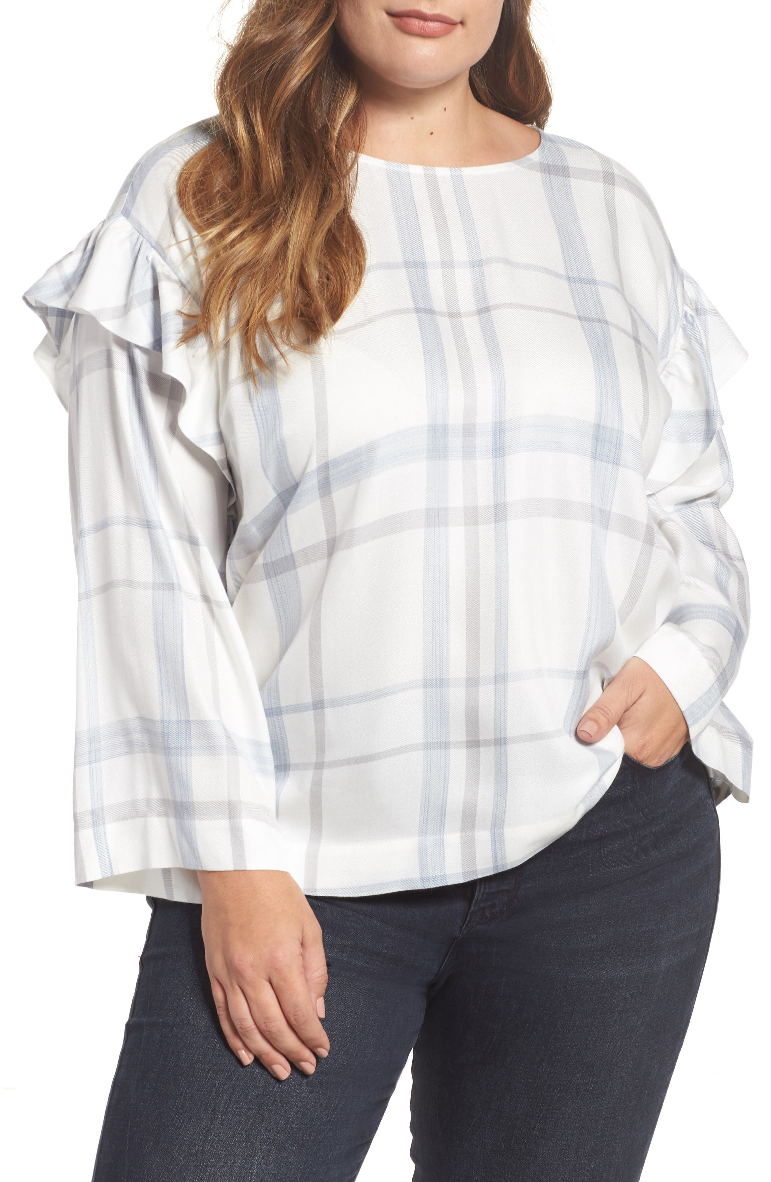 Main Image - Two by Vince Camuto Ruffed Sleeve Top (Plus Size)