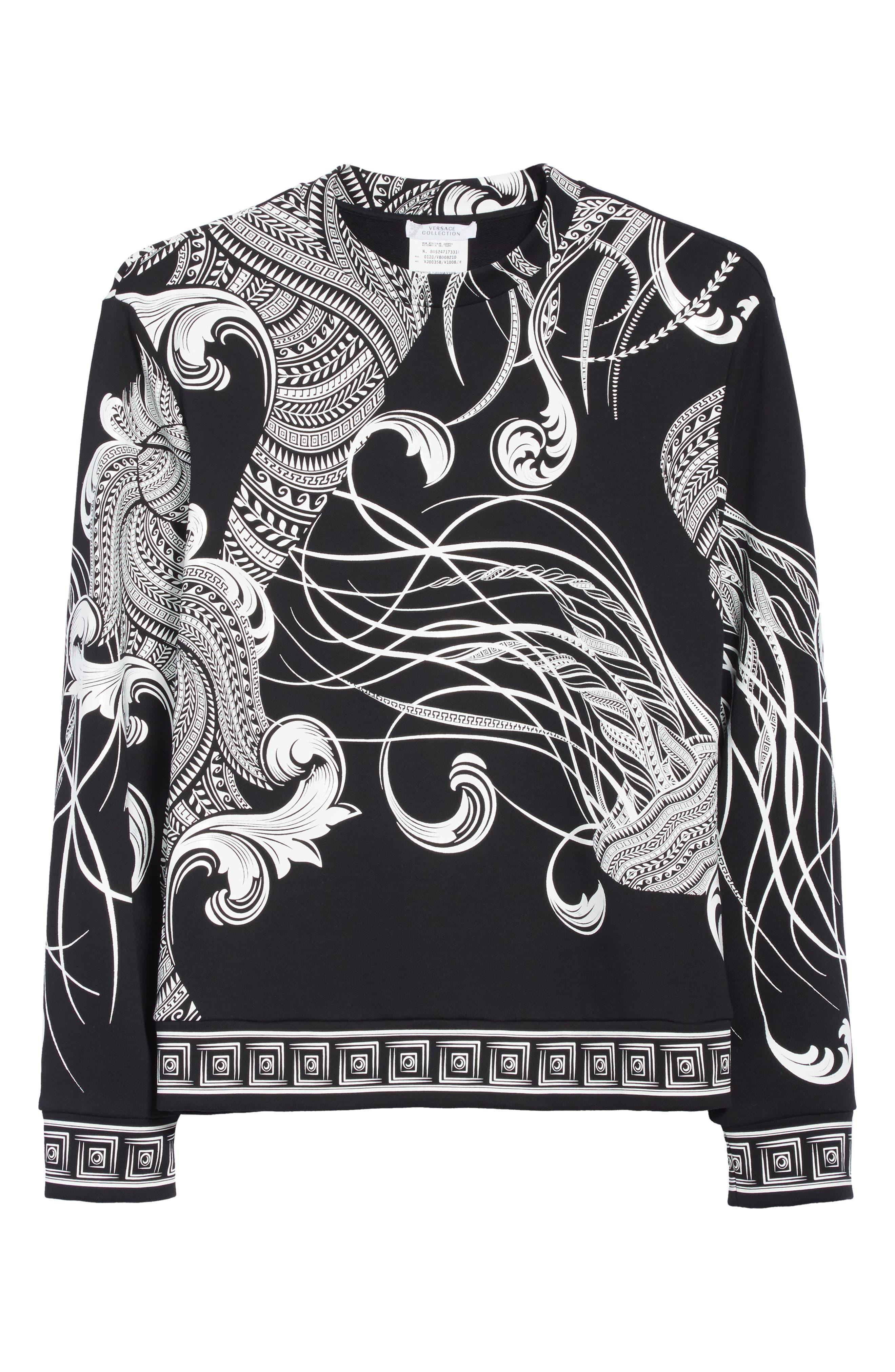Print Crewneck Sweatshirt,                             Alternate thumbnail 6, color,                             Black