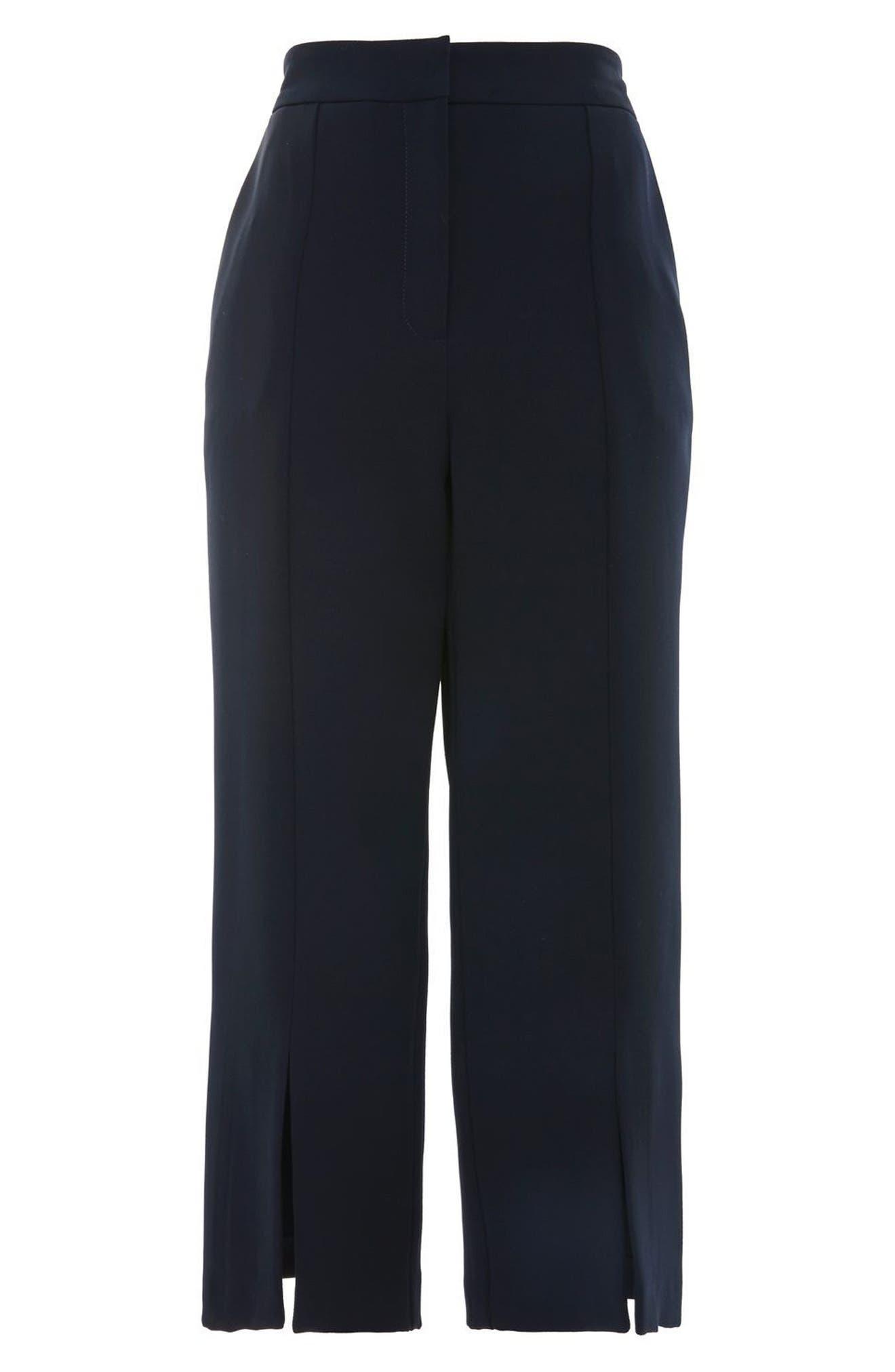 Split Hem Crop Pants,                             Alternate thumbnail 4, color,                             Navy Blue