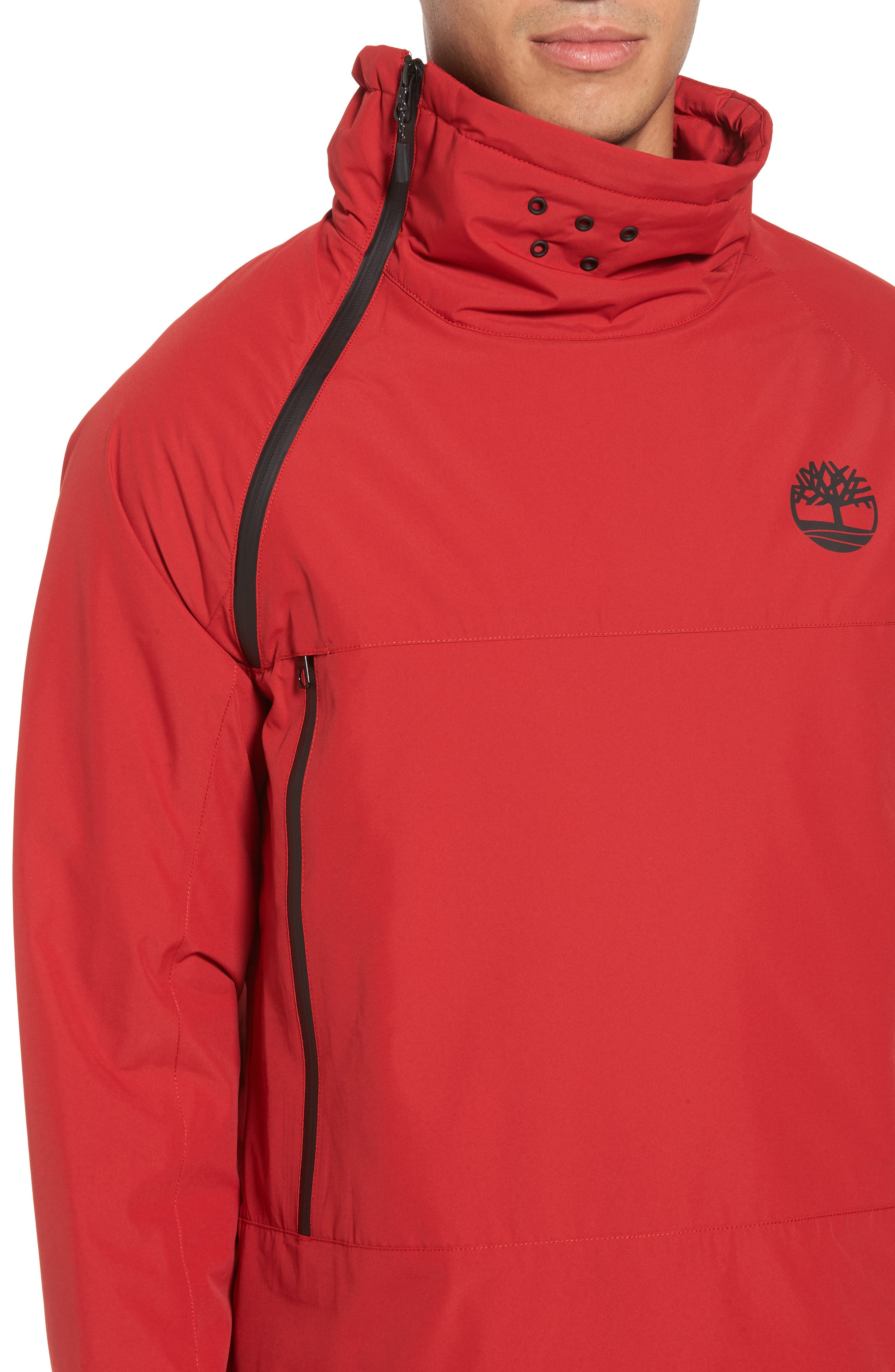 Asymmetrical Water-Repellent Funnel Neck Pullover,                             Alternate thumbnail 4, color,                             Chili Pepper