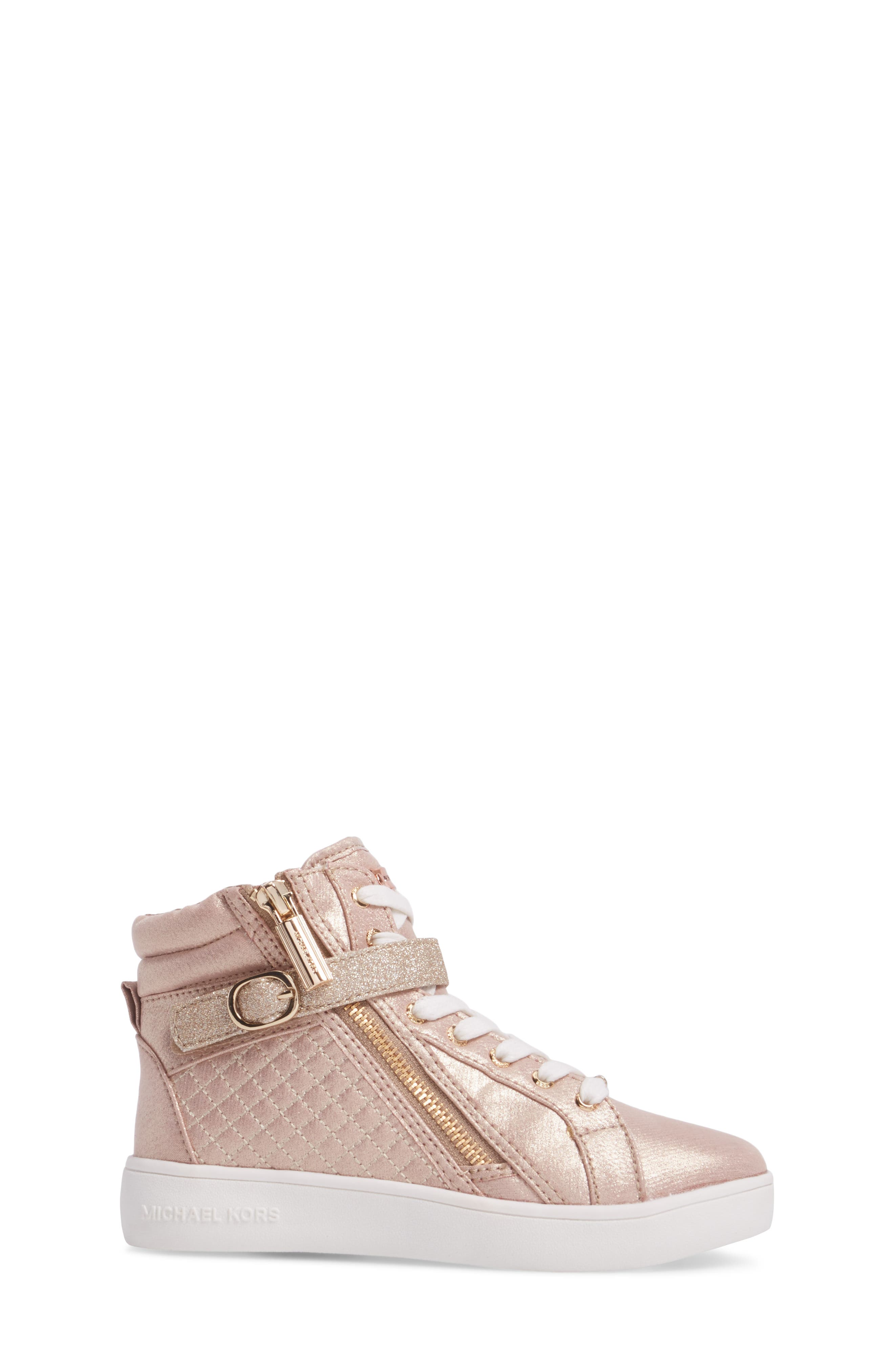 Ivy Rio Glittery High Top Sneaker,                             Alternate thumbnail 3, color,                             Rose Gold