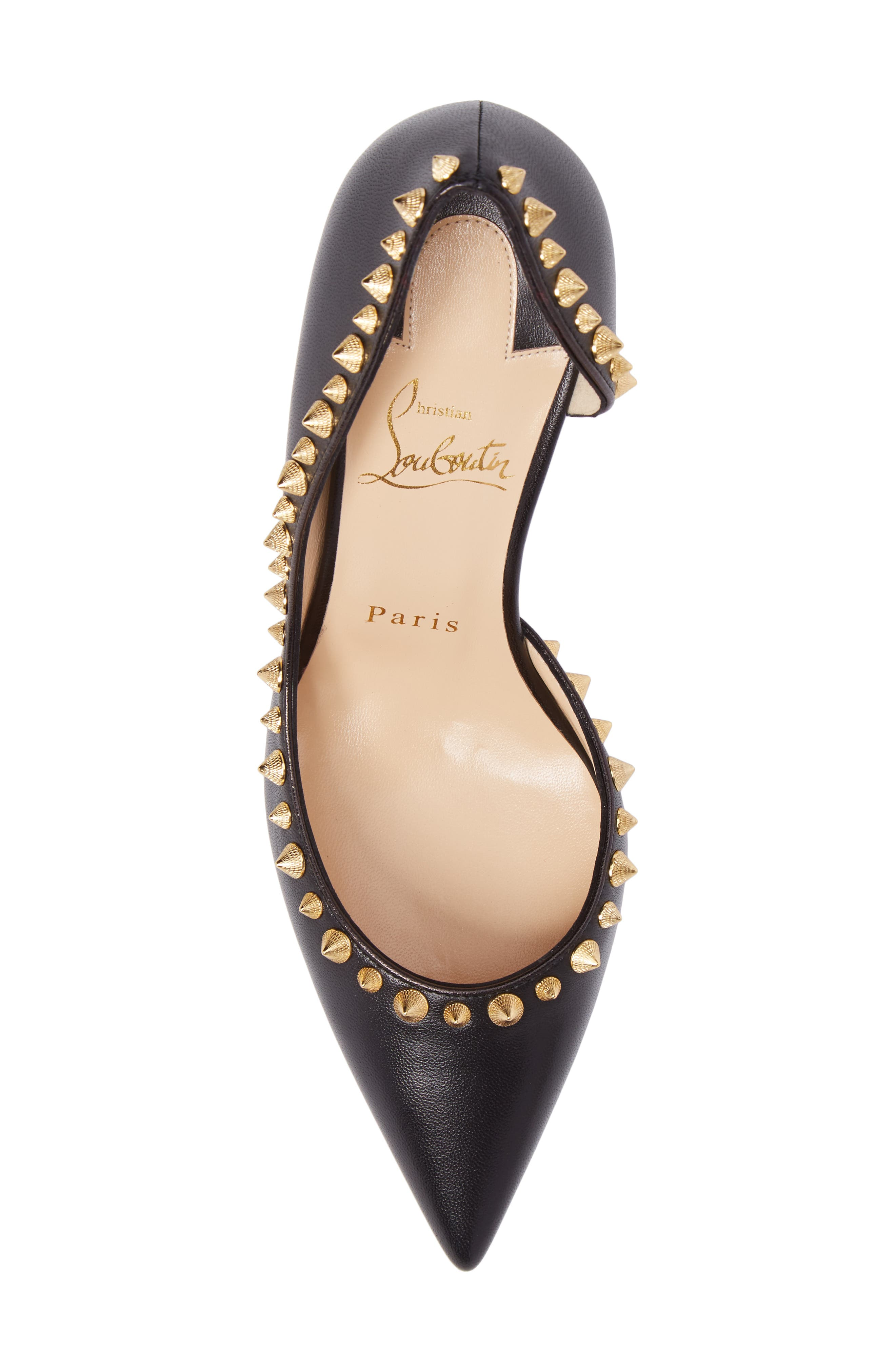 Irishell Studded Half d'Orsay Pump,                             Alternate thumbnail 5, color,                             Black/ Gold