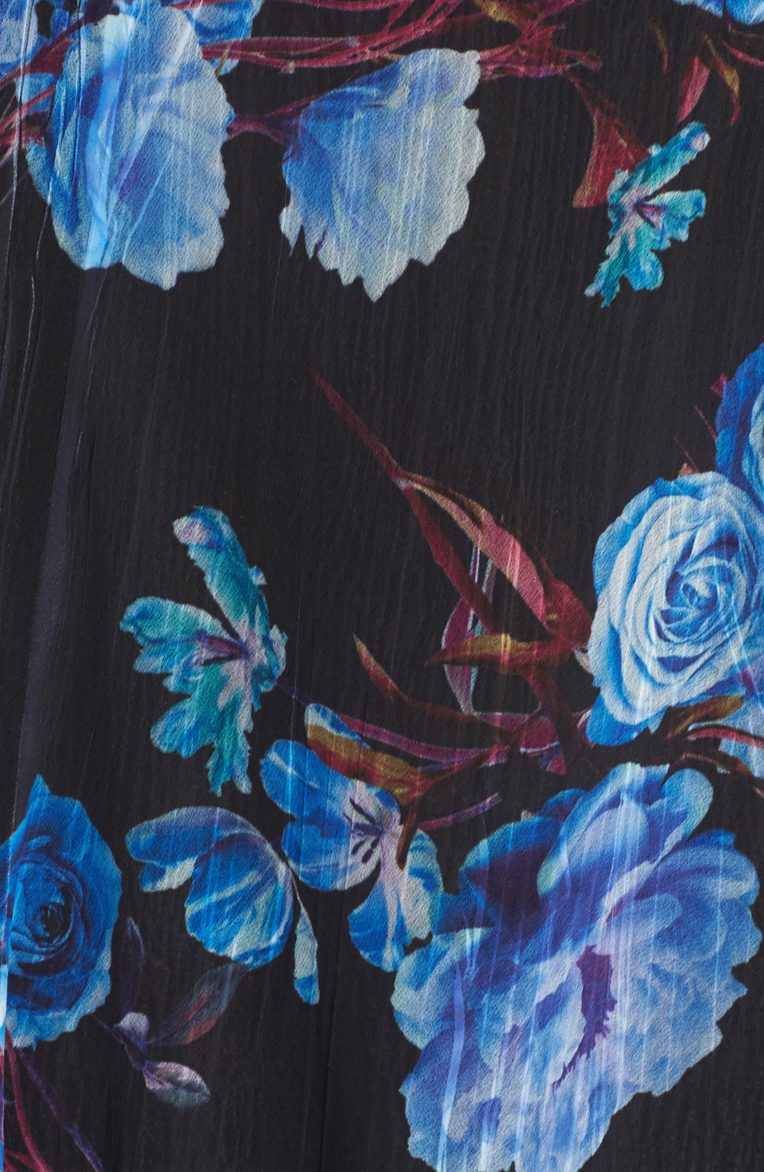 Floral Charmeuse & Chiffon A-Line Dress,                             Alternate thumbnail 5, color,                             Midnight Aurora