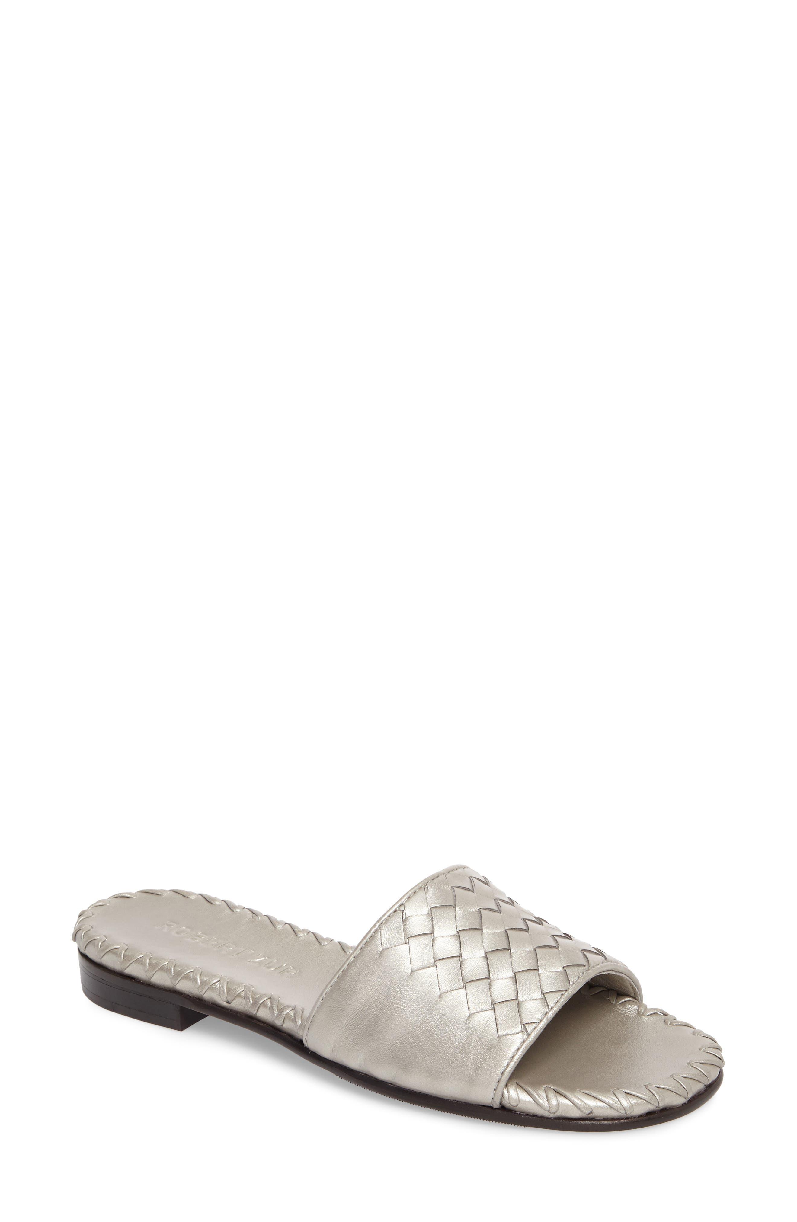 Matilda Woven Slide Sandal,                             Main thumbnail 1, color,                             Silver
