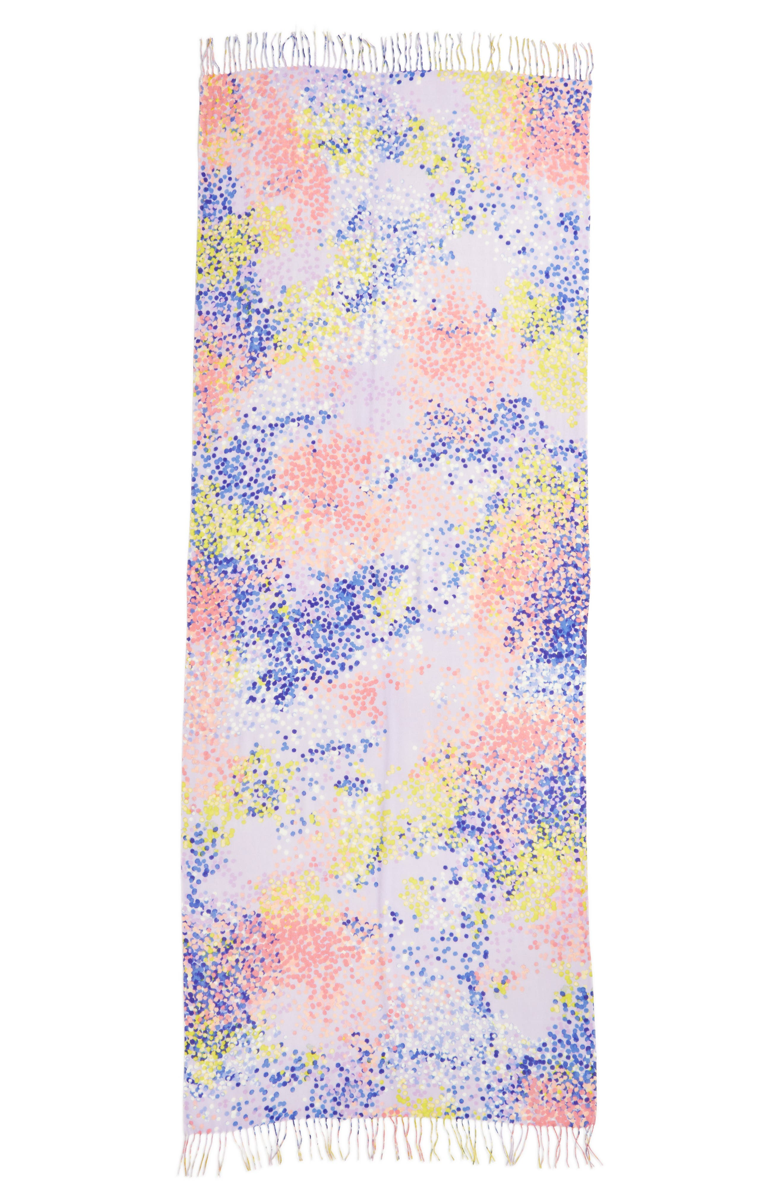 Tissue Print Wool & Cashmere Wrap Scarf,                             Alternate thumbnail 4, color,                             Purple Beautiful Dots