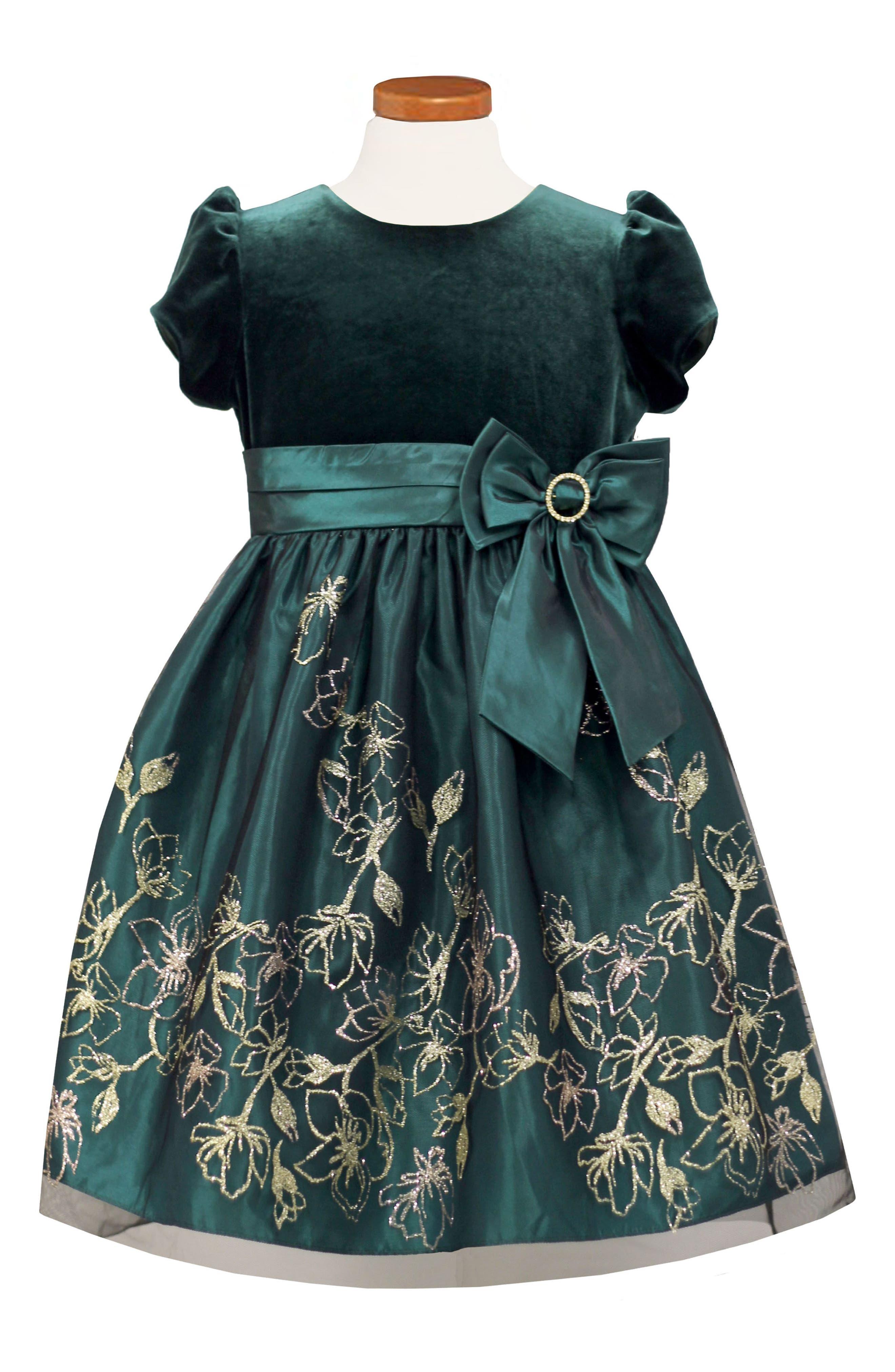 Velvet Bodice Fit & Flare Dress,                         Main,                         color, Green