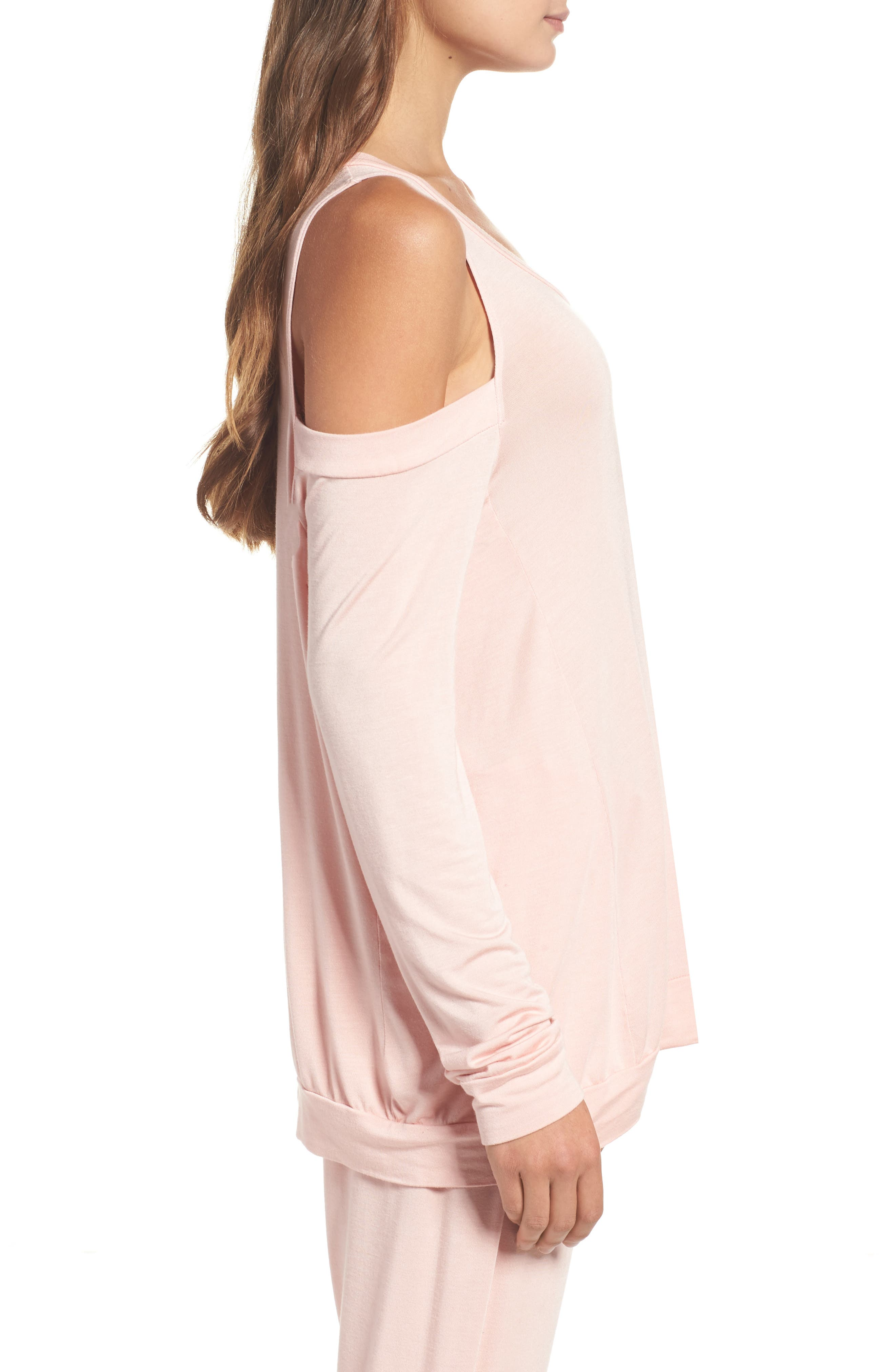 Roma Cold Shoulder Pullover,                             Alternate thumbnail 3, color,                             Dream Pink