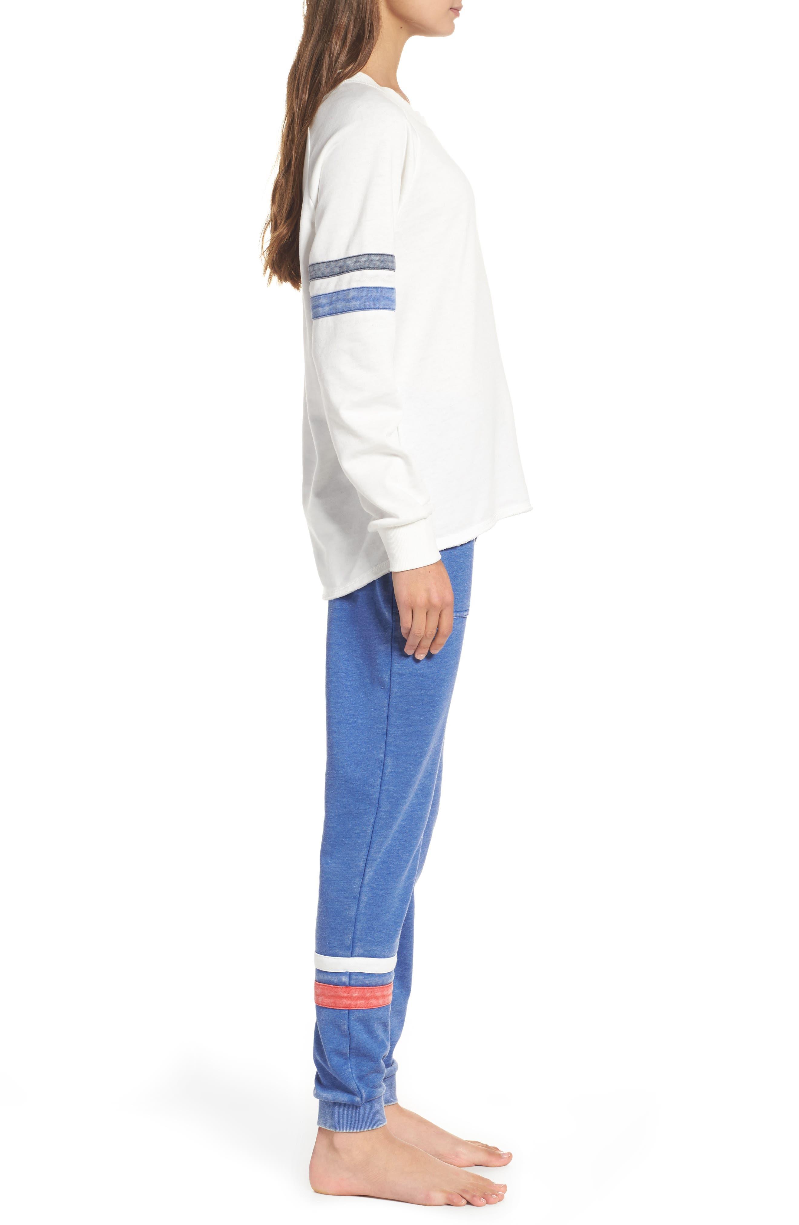 Lazy Day Sweatshirt,                             Alternate thumbnail 3, color,                             Ivory/ Dark Navy/ Pacific Blue