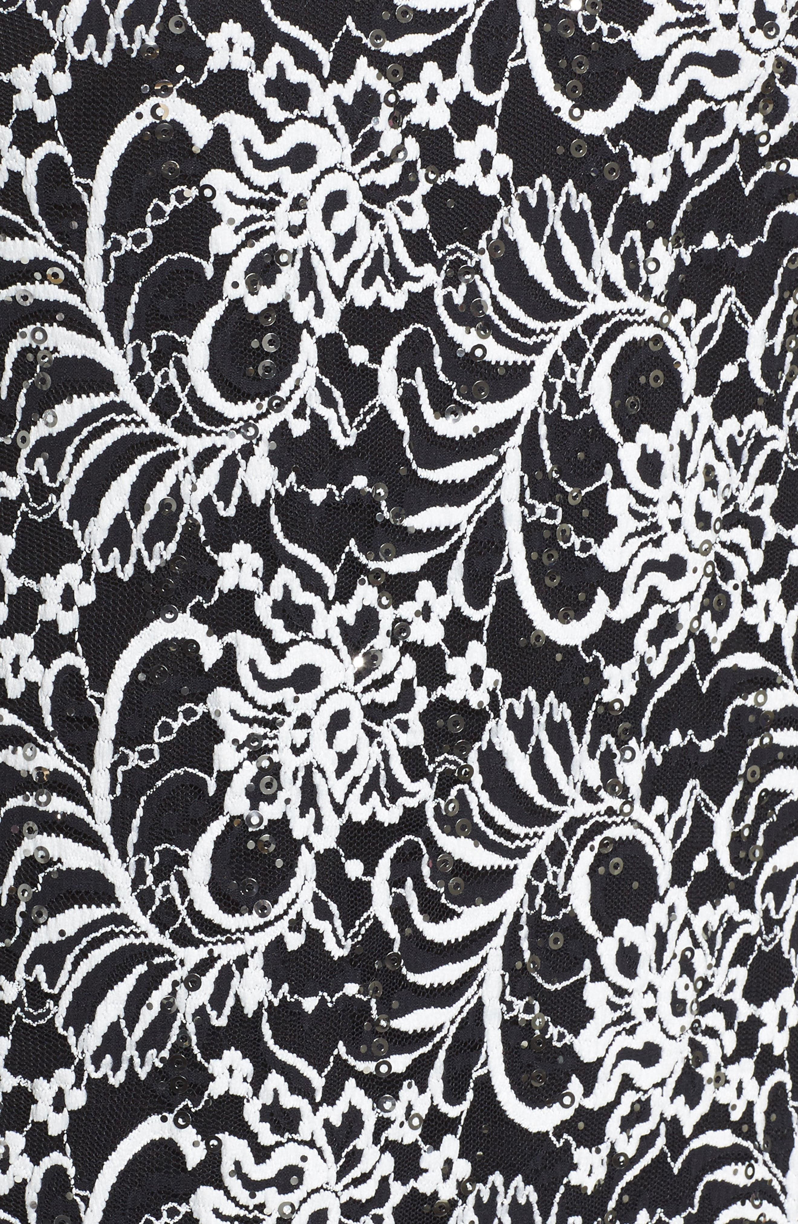 Embroidered Tulle Blouse,                             Alternate thumbnail 5, color,                             Black/ White