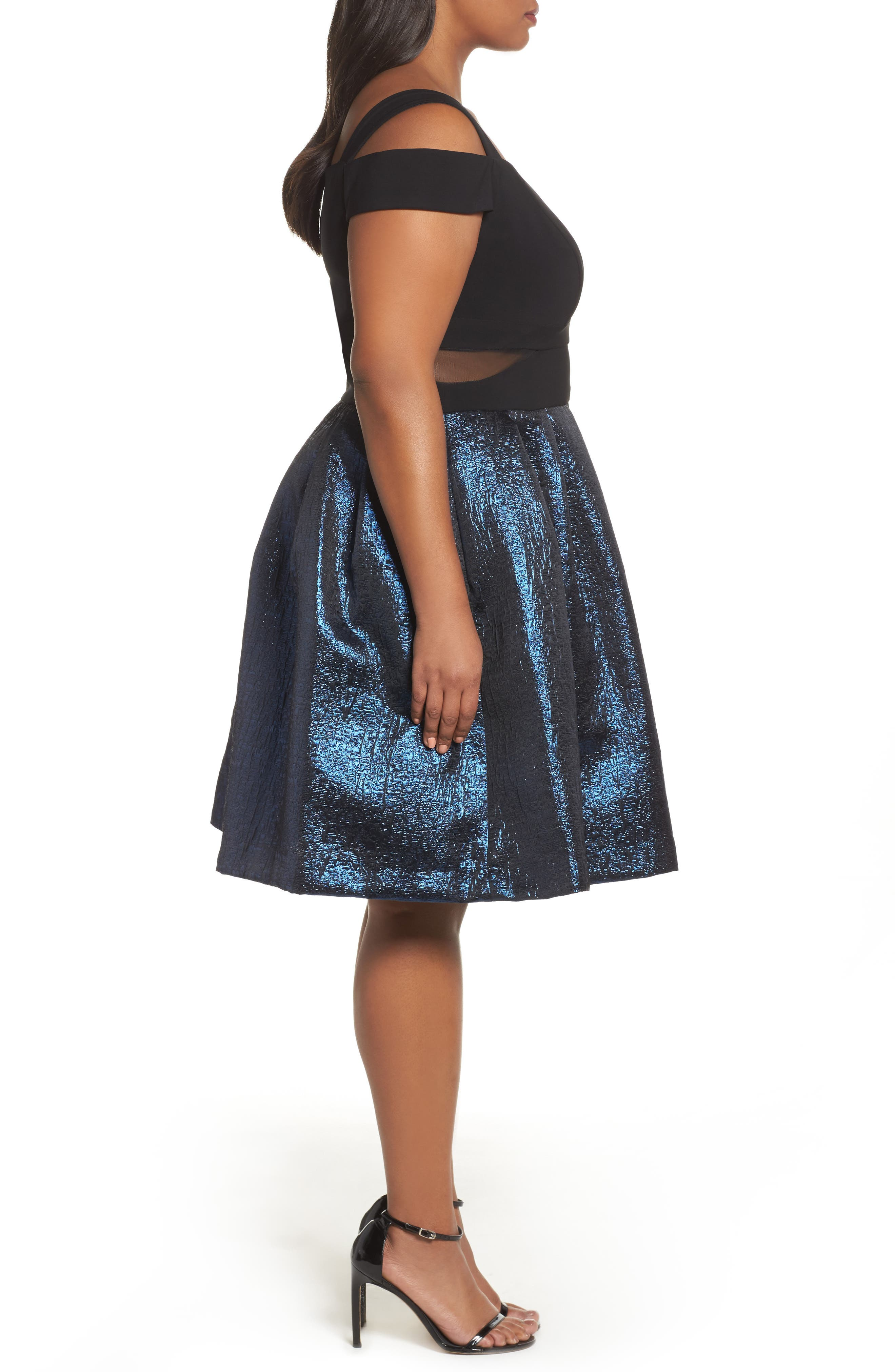 Cold Shoulder Mixed Media Party Dress,                             Alternate thumbnail 3, color,                             Black/ Blue