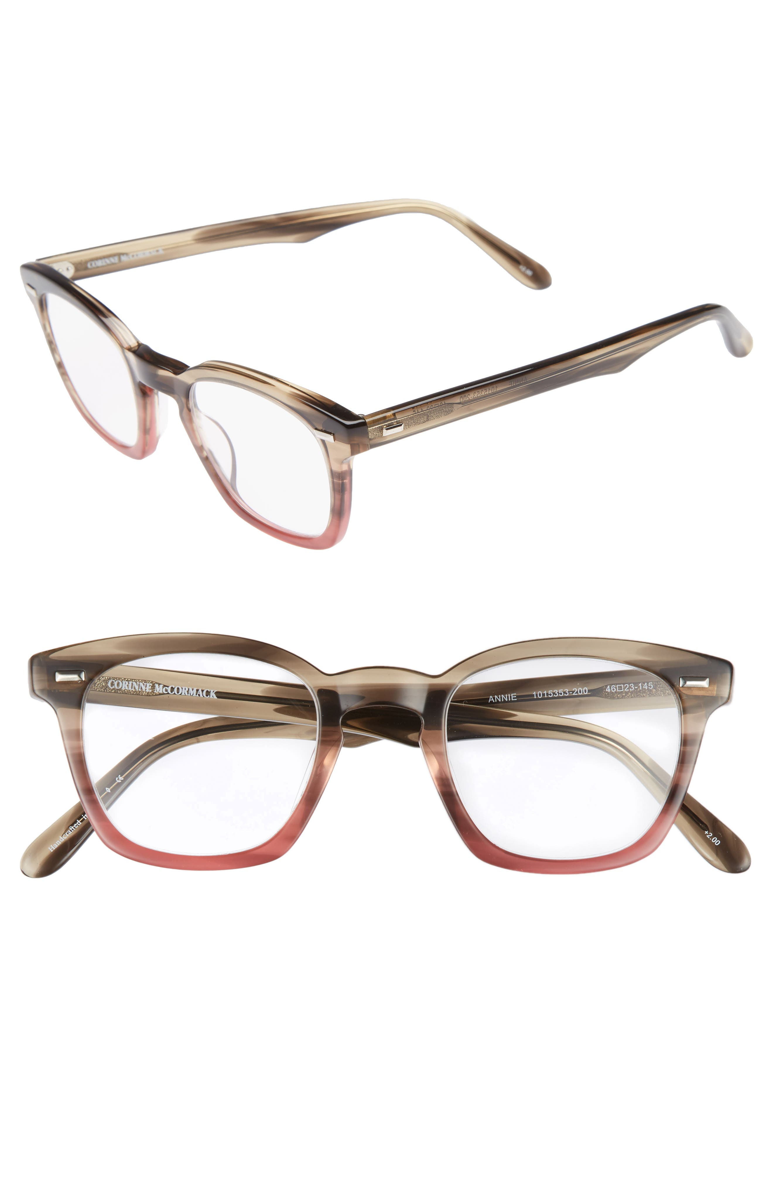 Annie 46mm Reading Glasses,                             Main thumbnail 1, color,                             Taupe Fade Berry