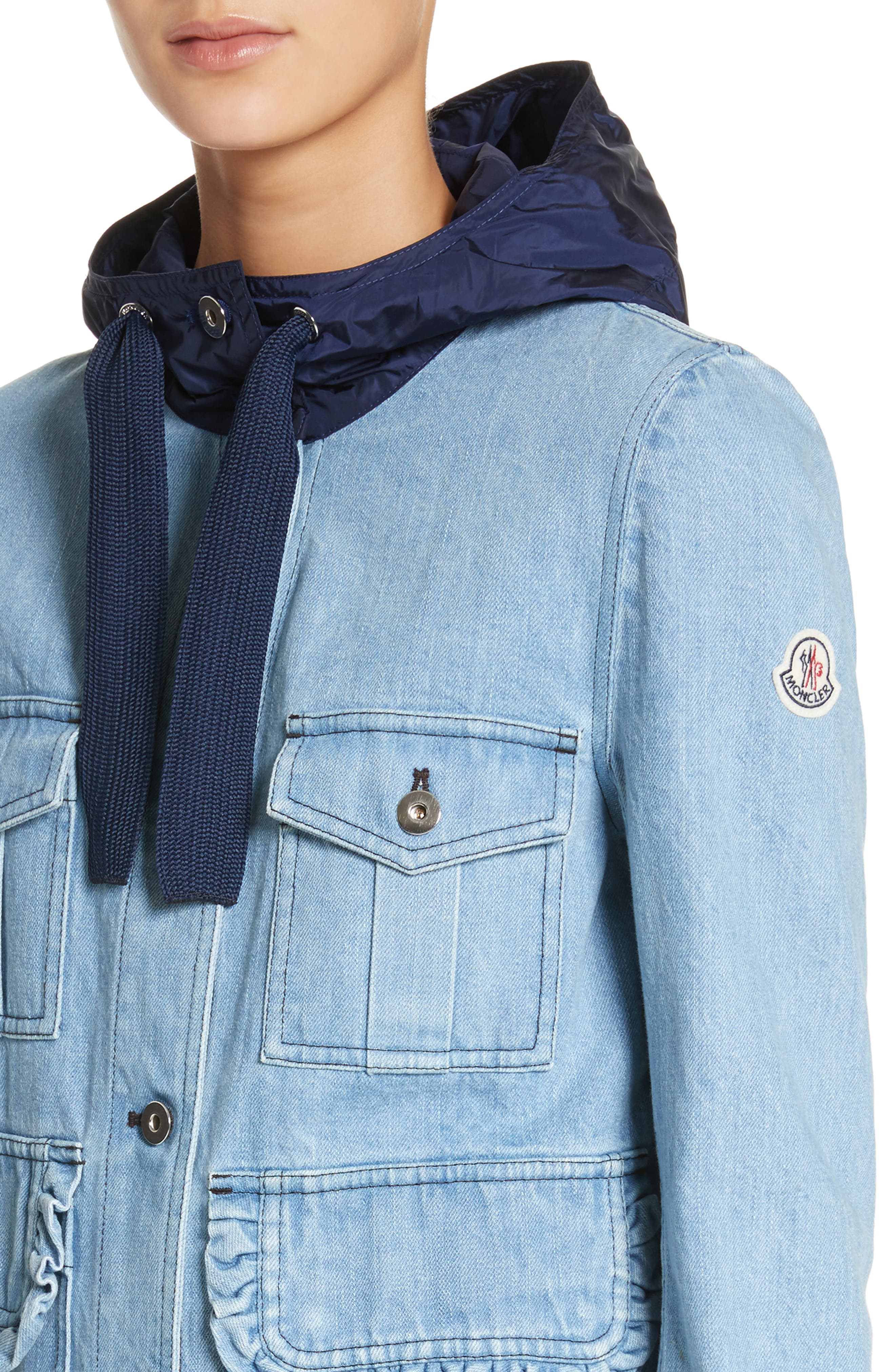 Alternate Image 4  - Moncler Hooded Denim Jacket
