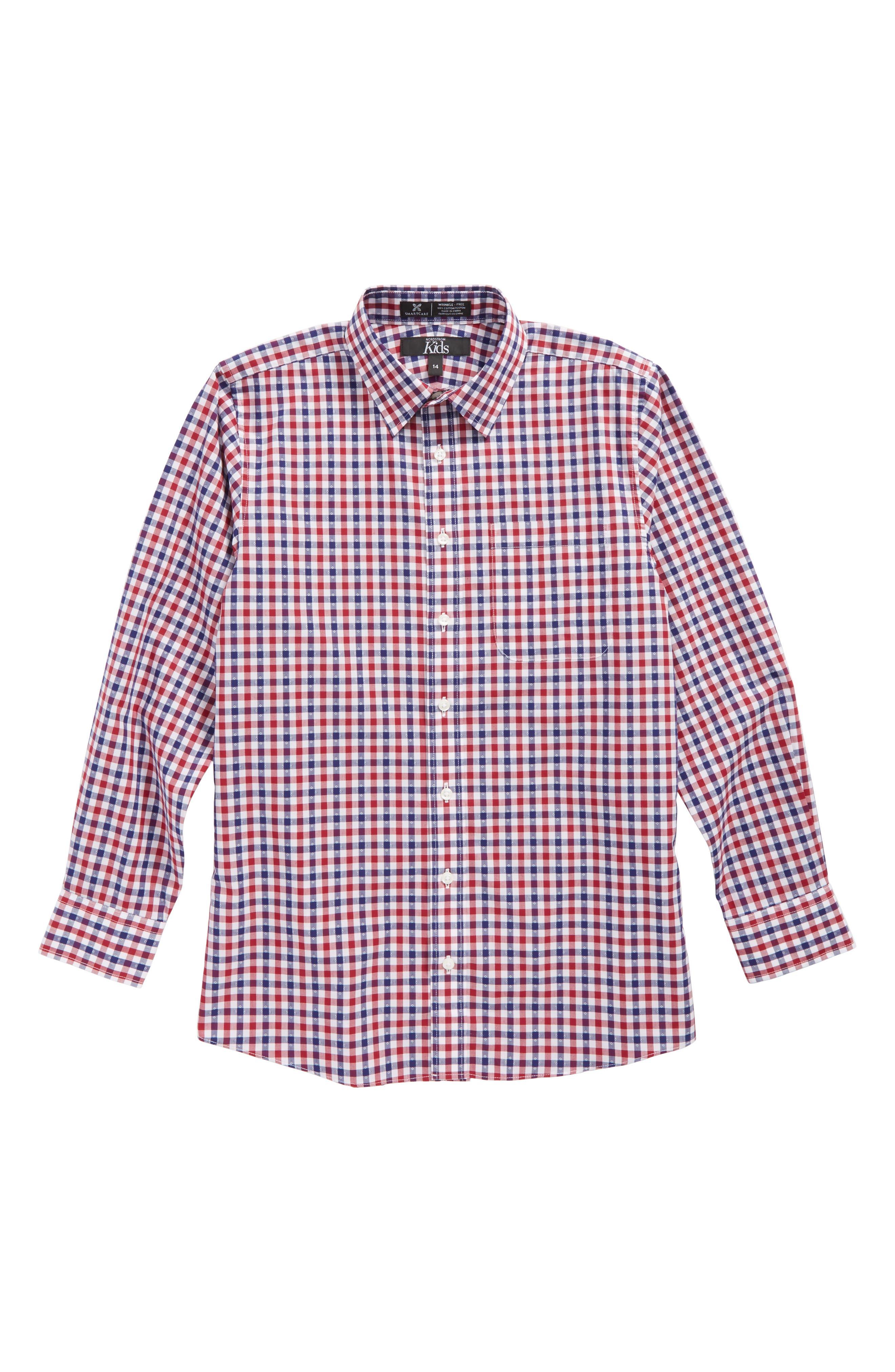 Dot Gingham Sport Shirt,                         Main,                         color, Red Tibetan-White Plaid