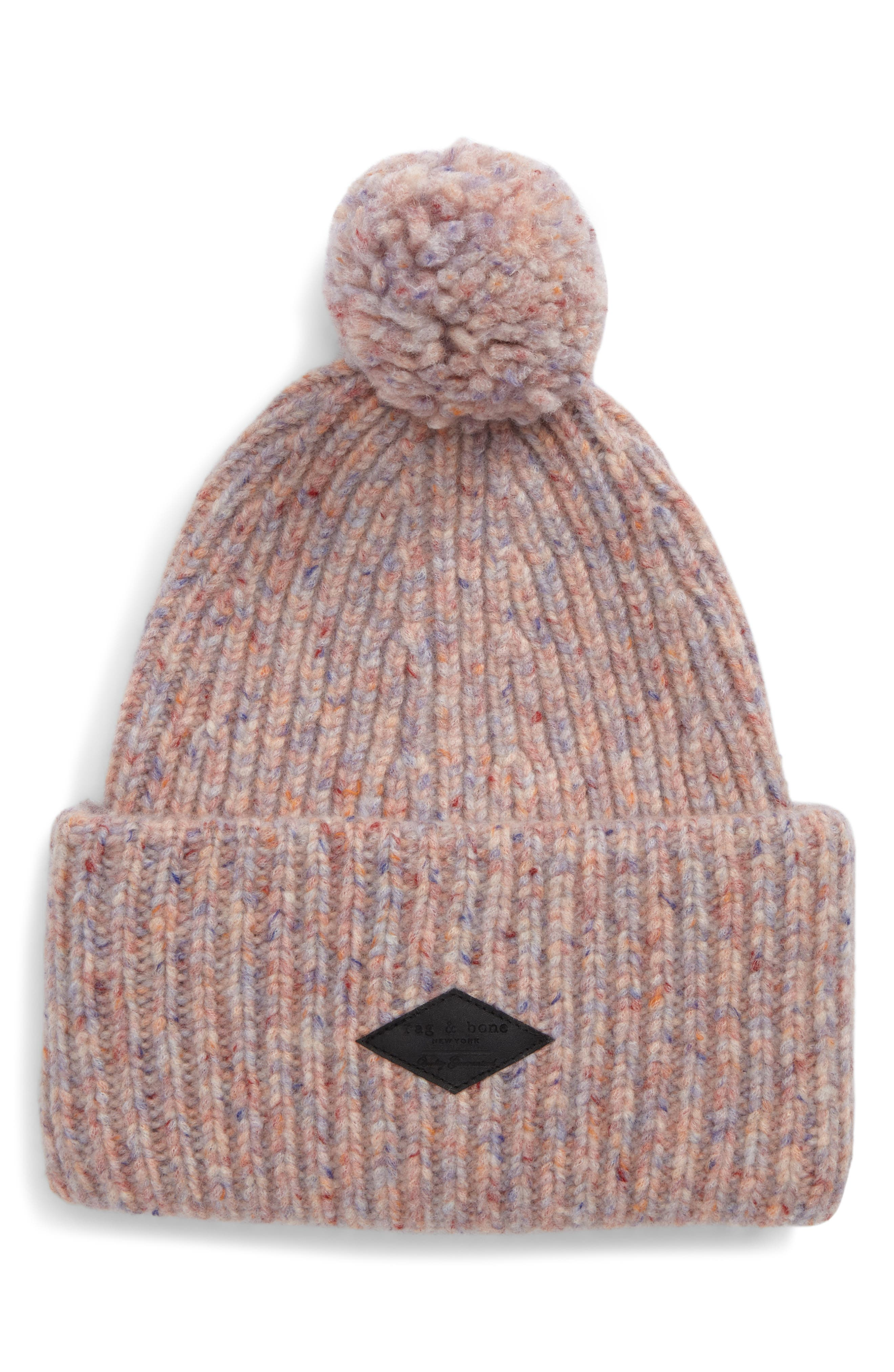Devin Wool Blend Slouch Beanie,                             Main thumbnail 1, color,                             Pink Multi