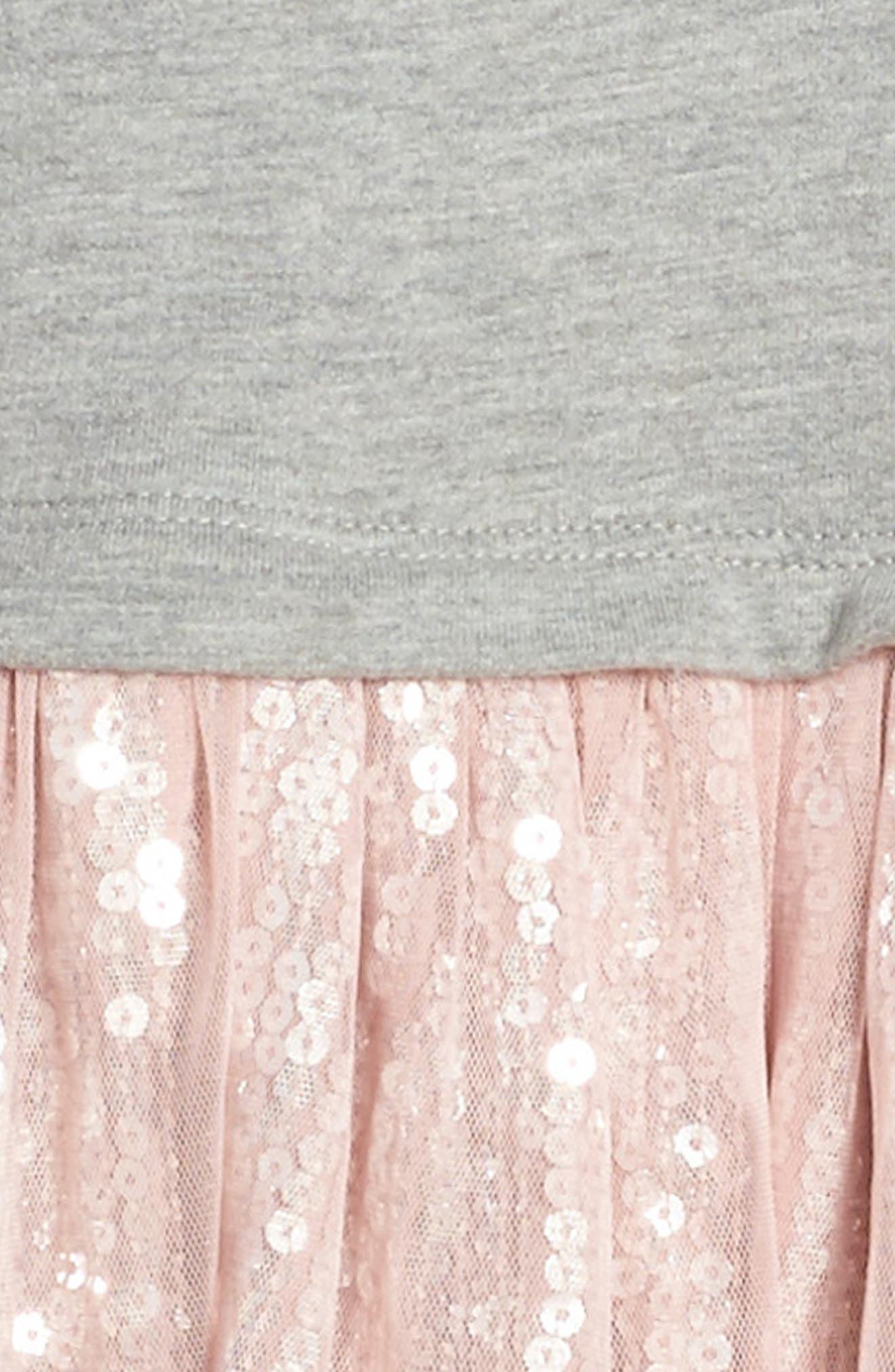 Sequin Tutu Dress,                             Alternate thumbnail 3, color,                             Grey Medium Heather Swan