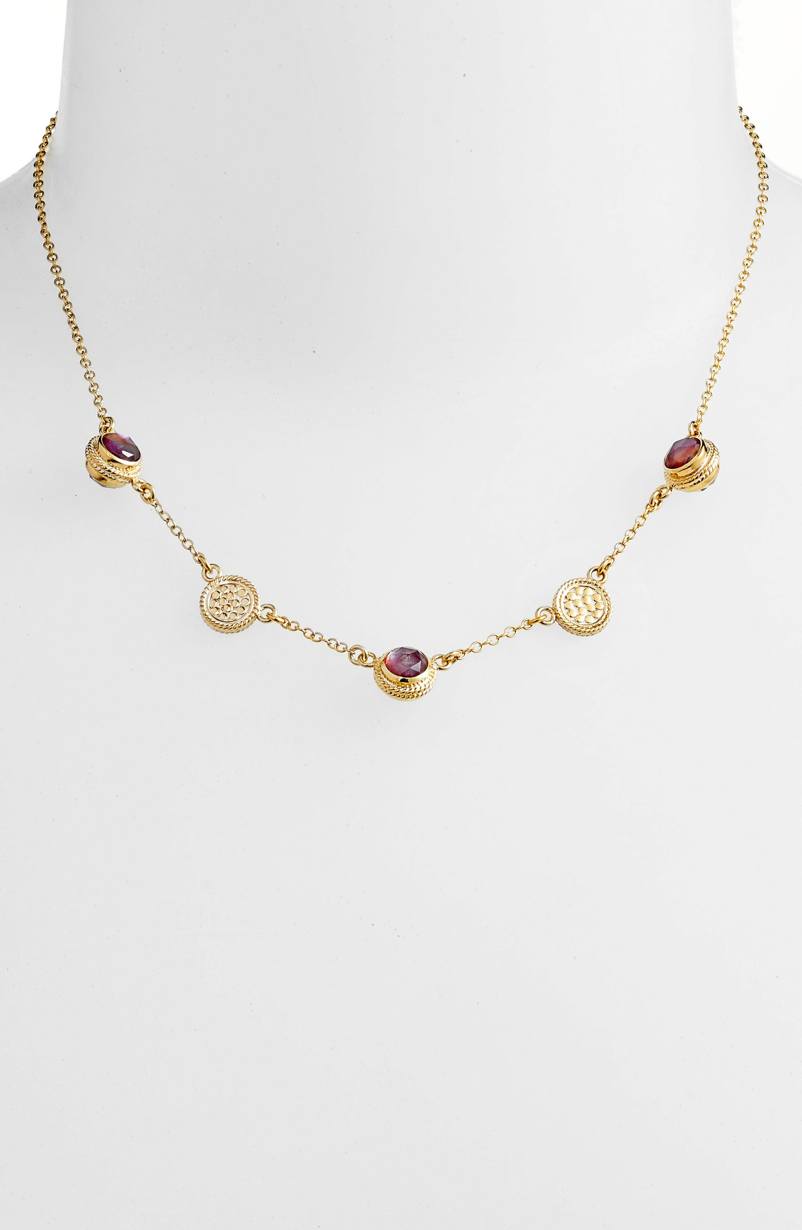 Semiprecious Stone Station Necklace,                         Main,                         color, Gold/ Silver/ Garnet