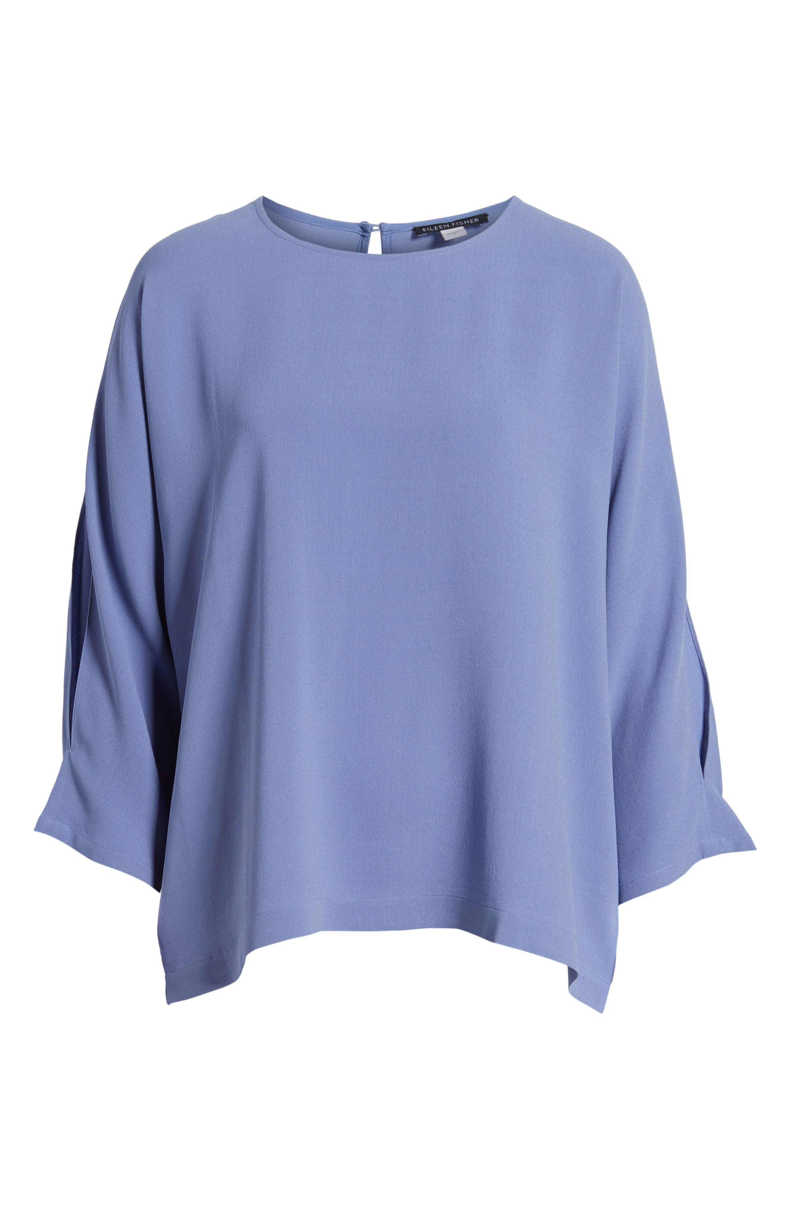 Alternate Image 6  - Eileen Fisher Slit Sleeve Silk Top