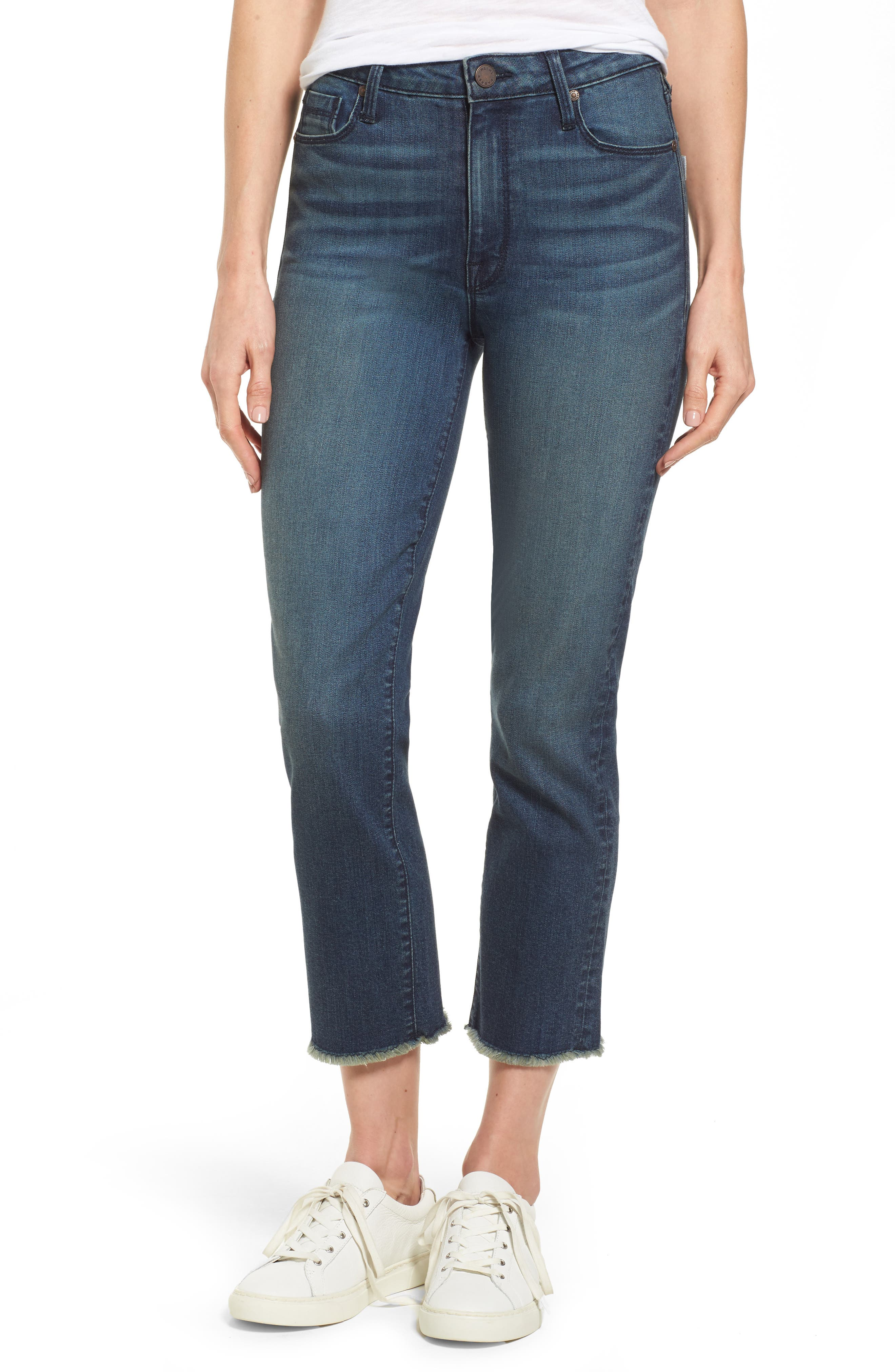 Pin-Up Straight Crop Jeans,                         Main,                         color, Ocean Boulevard