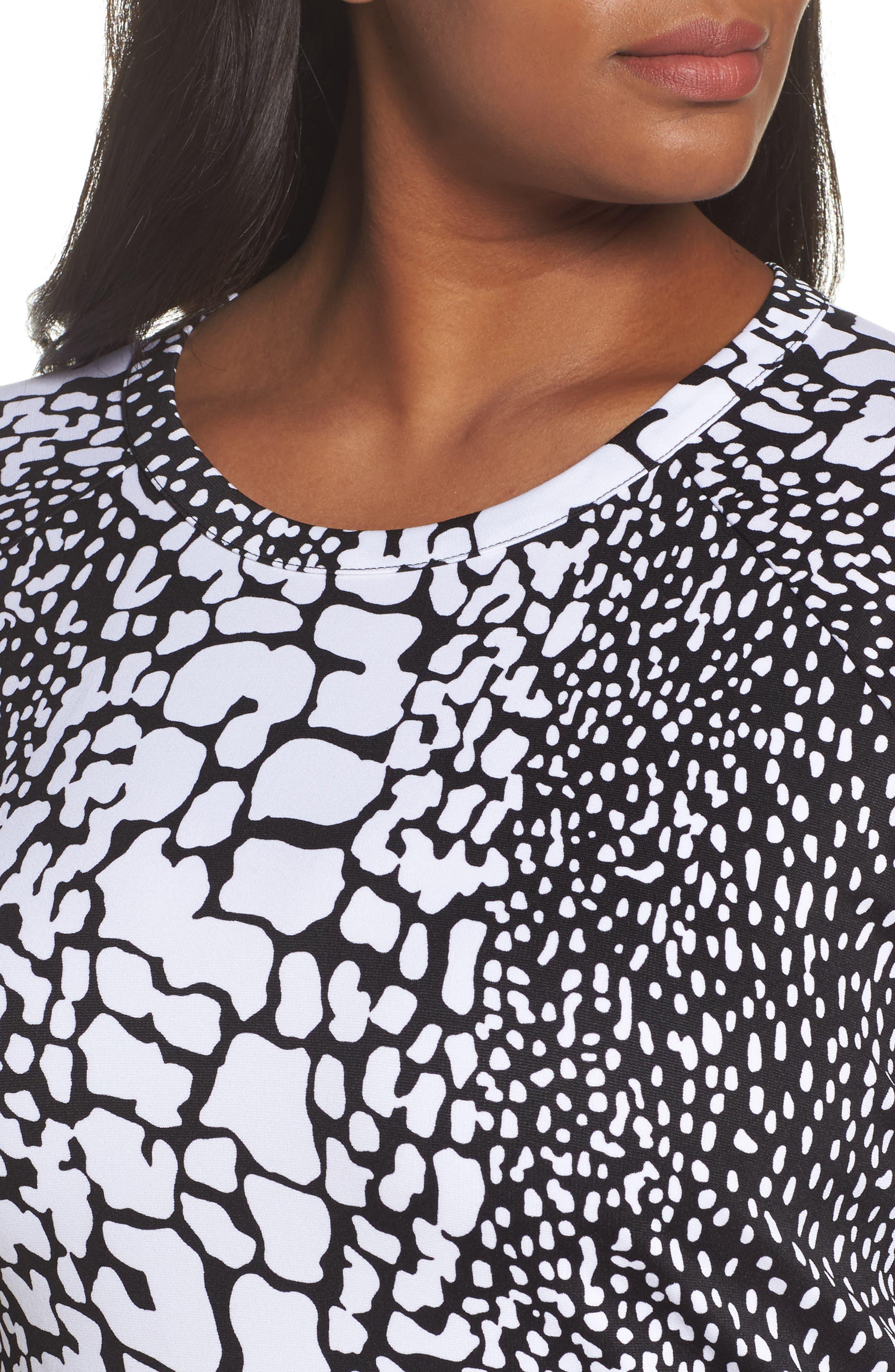 Croc Print Ponte Dress,                             Alternate thumbnail 4, color,                             Black/ White