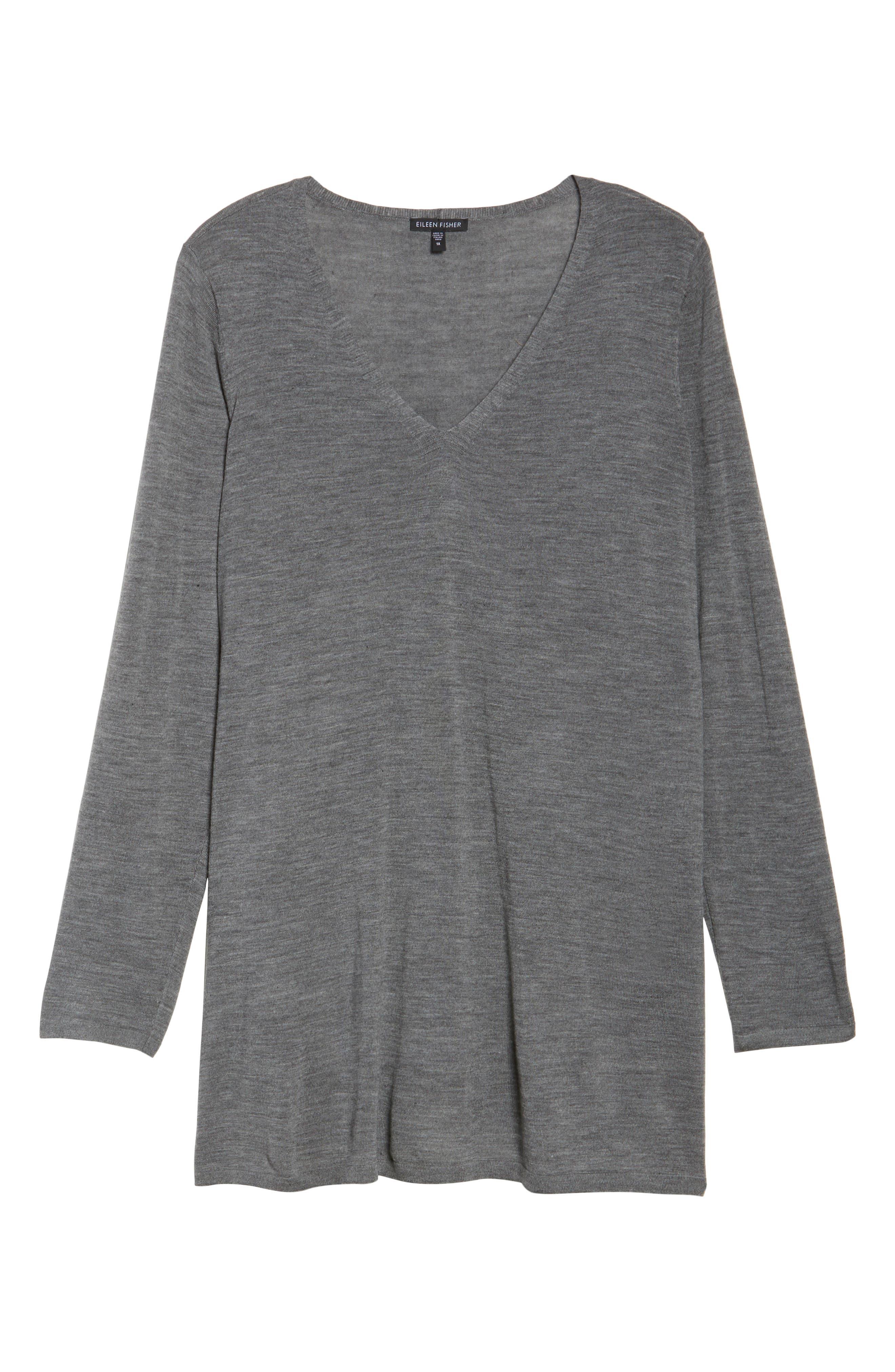 Merino Wool Tunic Sweater,                             Alternate thumbnail 6, color,                             Ash