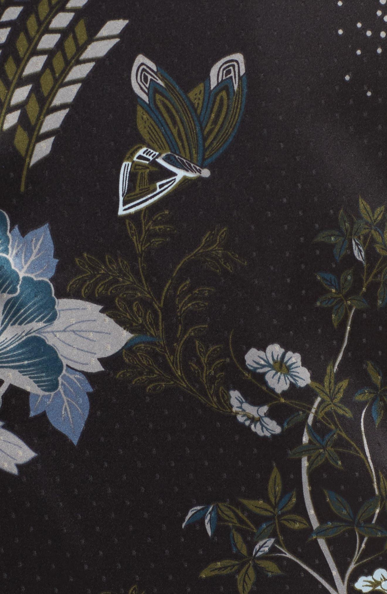 Late Nights Satin Midi Robe,                             Alternate thumbnail 5, color,                             Black Decorative Scenery