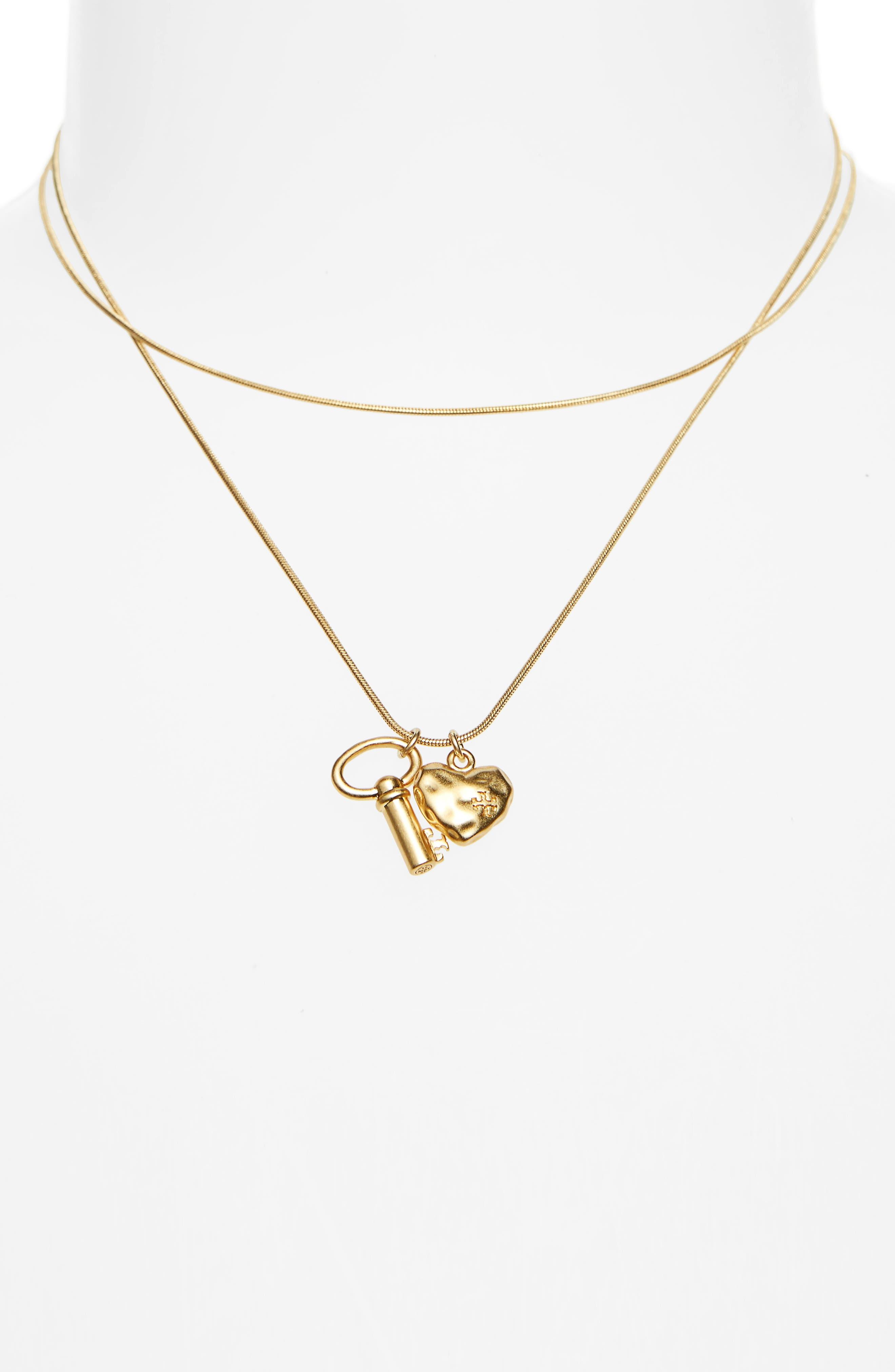 Key & Heart Charm Layered Pendant Necklace,                             Alternate thumbnail 2, color,                             Vintage Gold