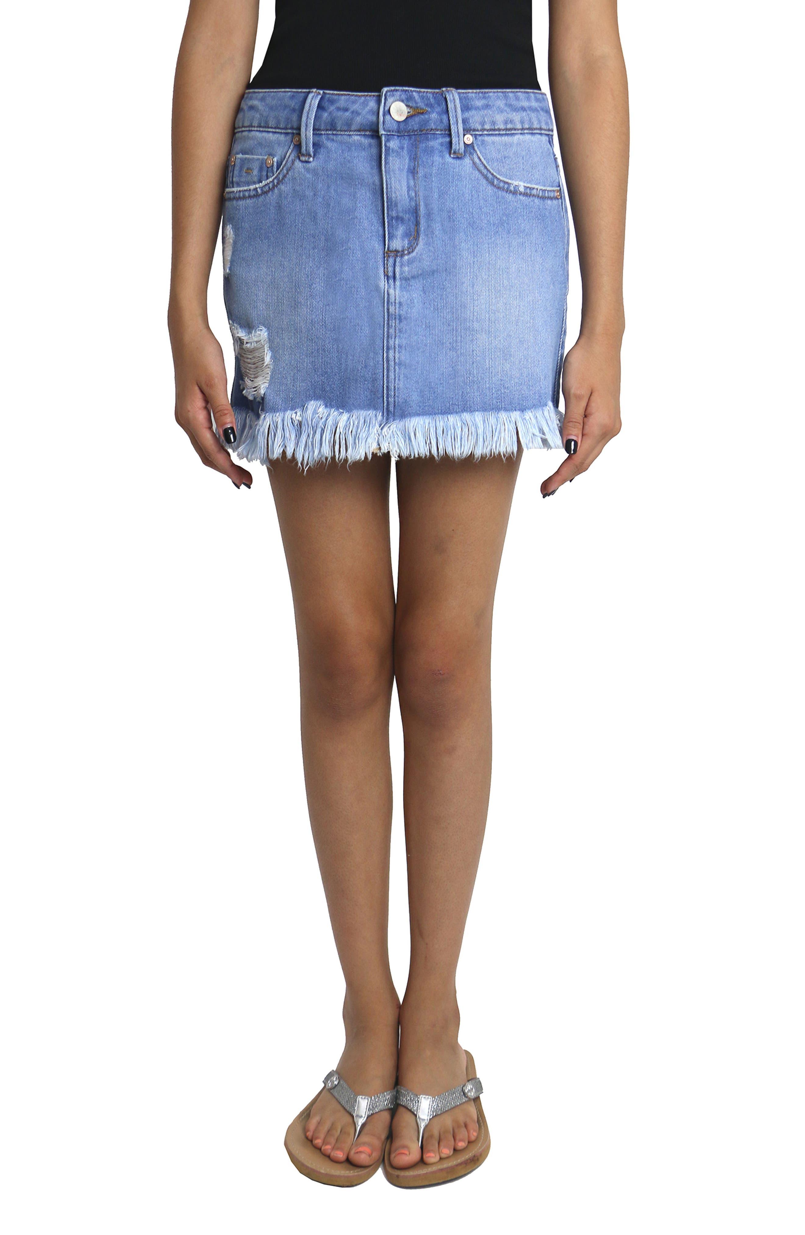 Alternate Image 5  - Tractr Distressed Denim Skirt (Big Girls)