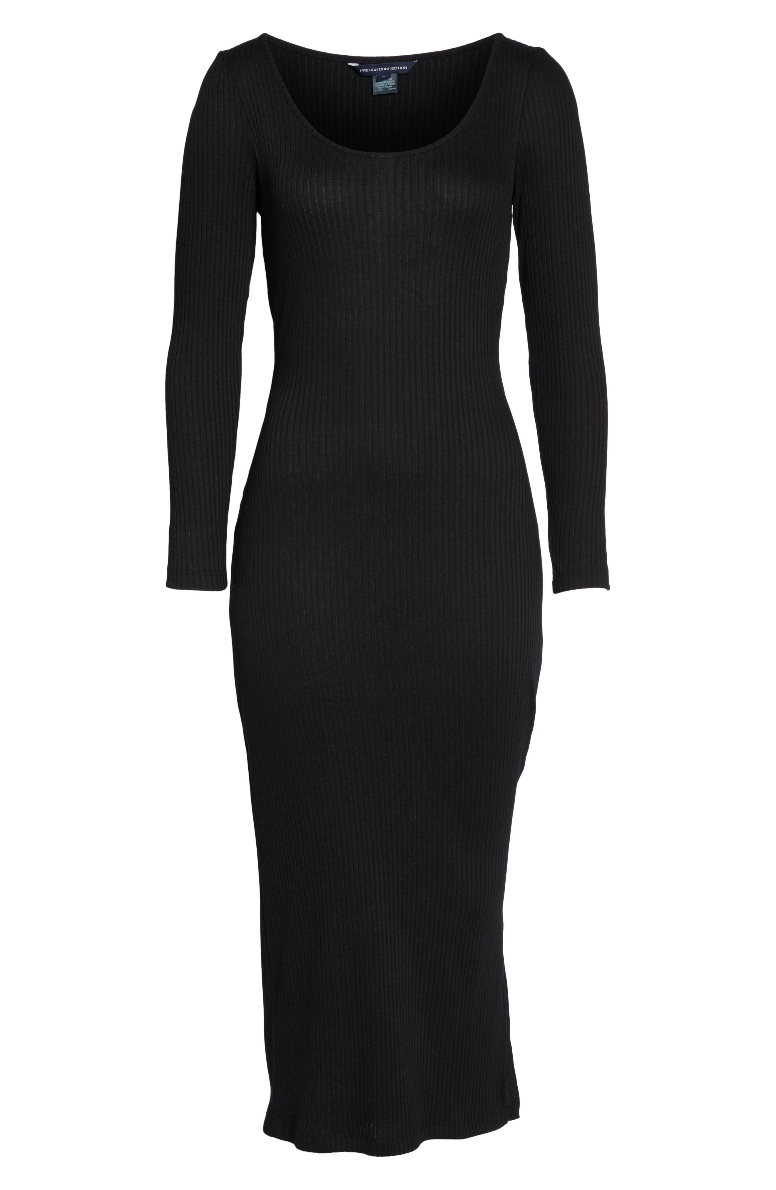 Tommy Ribbed Midi Dress,                             Alternate thumbnail 6, color,                             Black