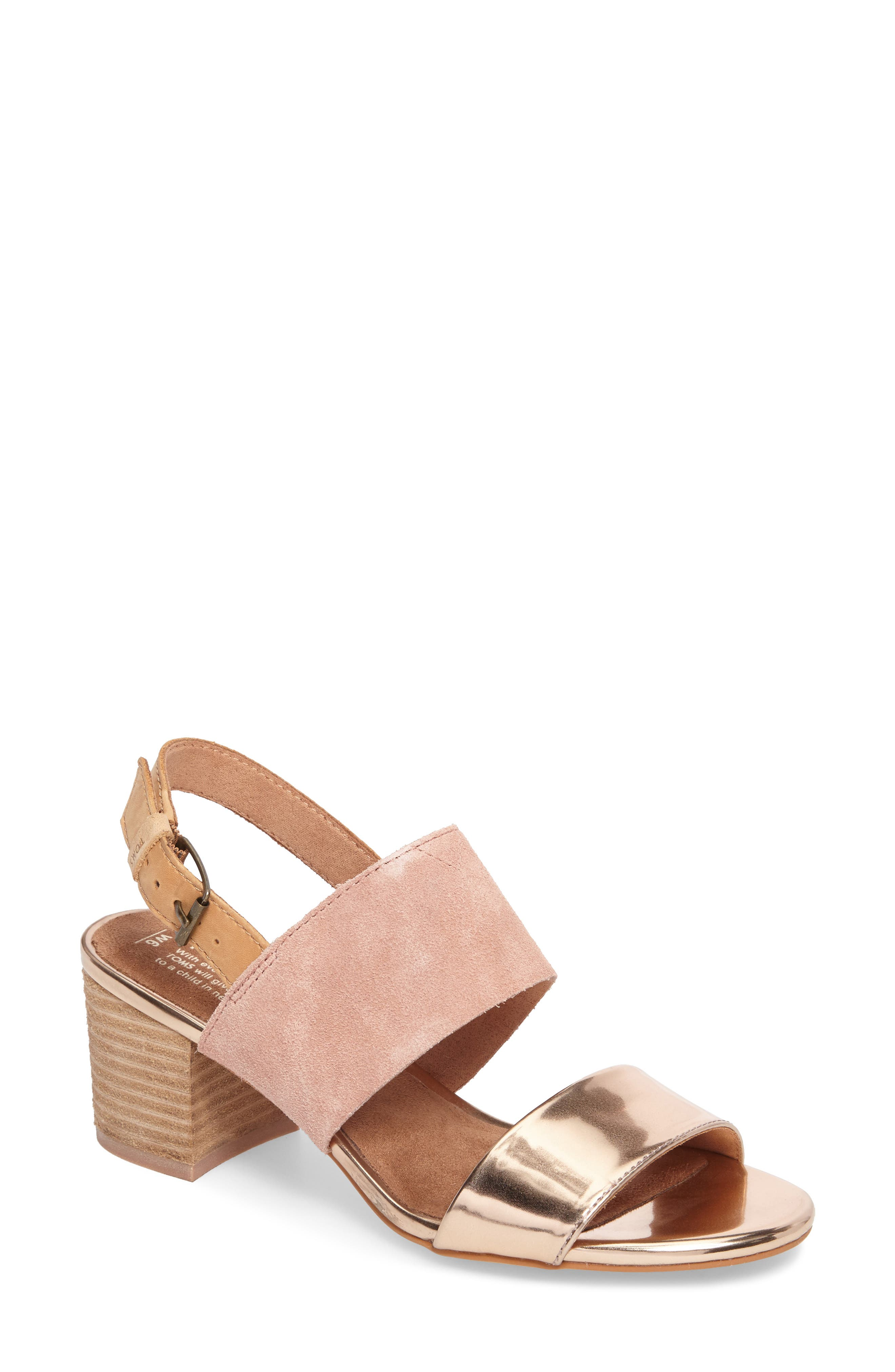Poppy Sandal,                             Main thumbnail 1, color,                             Bloom / Rose Gold Suede