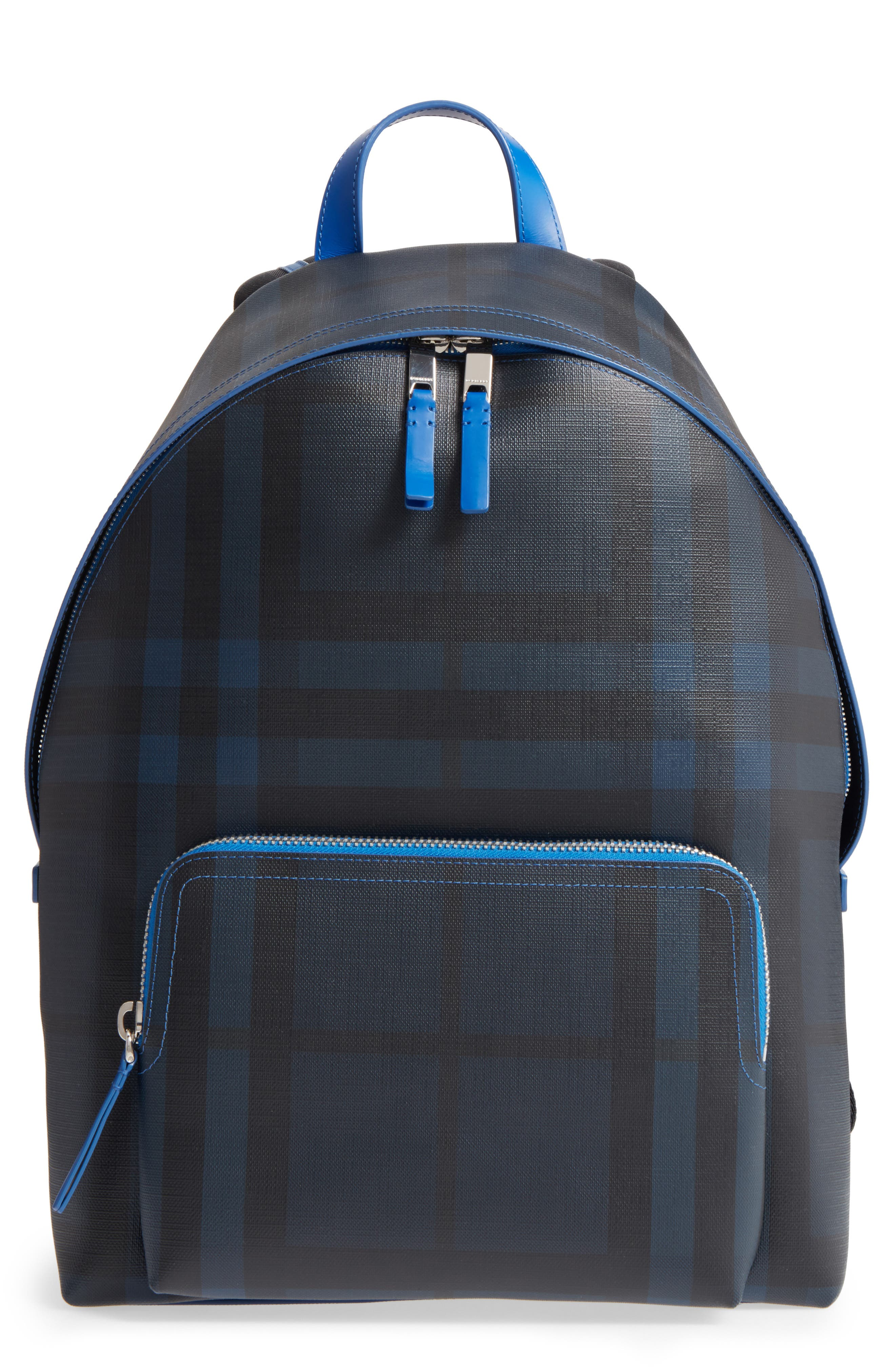 Check Faux Leather Backpack,                             Main thumbnail 1, color,                             Navy/ Blue
