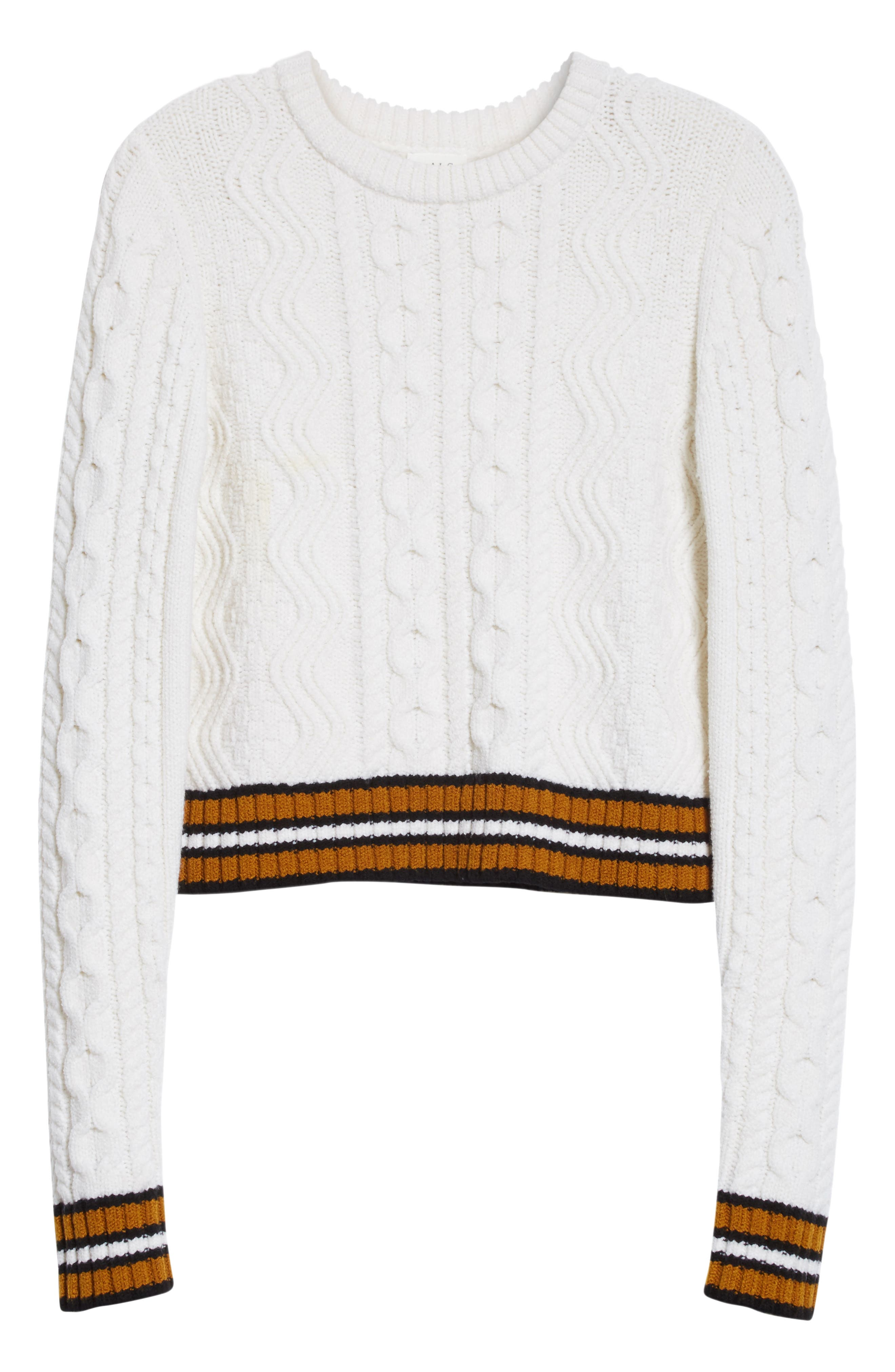 Alpha Cable Knit Sweater,                             Alternate thumbnail 7, color,                             White