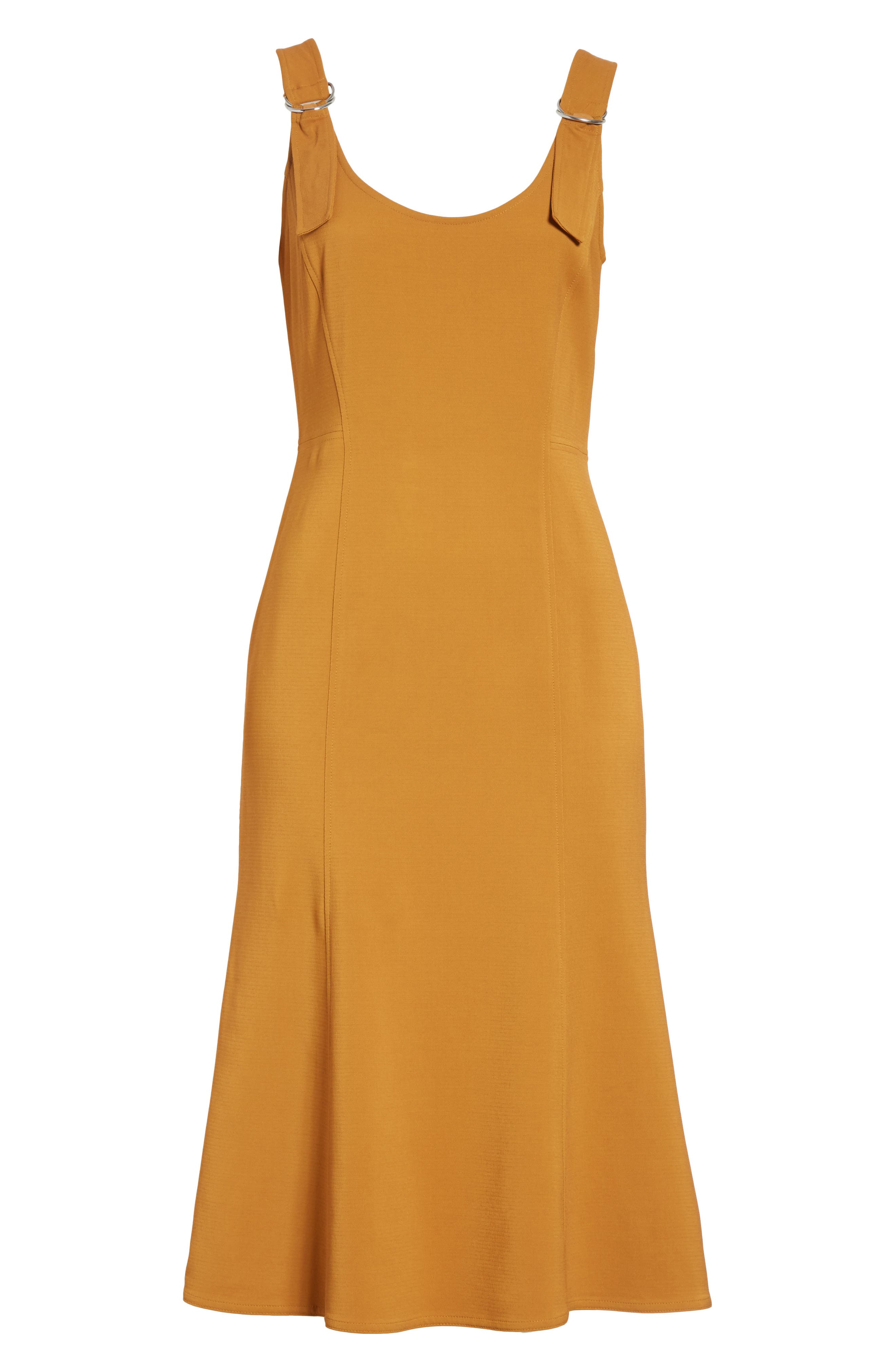 Sander Buckle Strap Midi Dress,                             Alternate thumbnail 6, color,                             Gold
